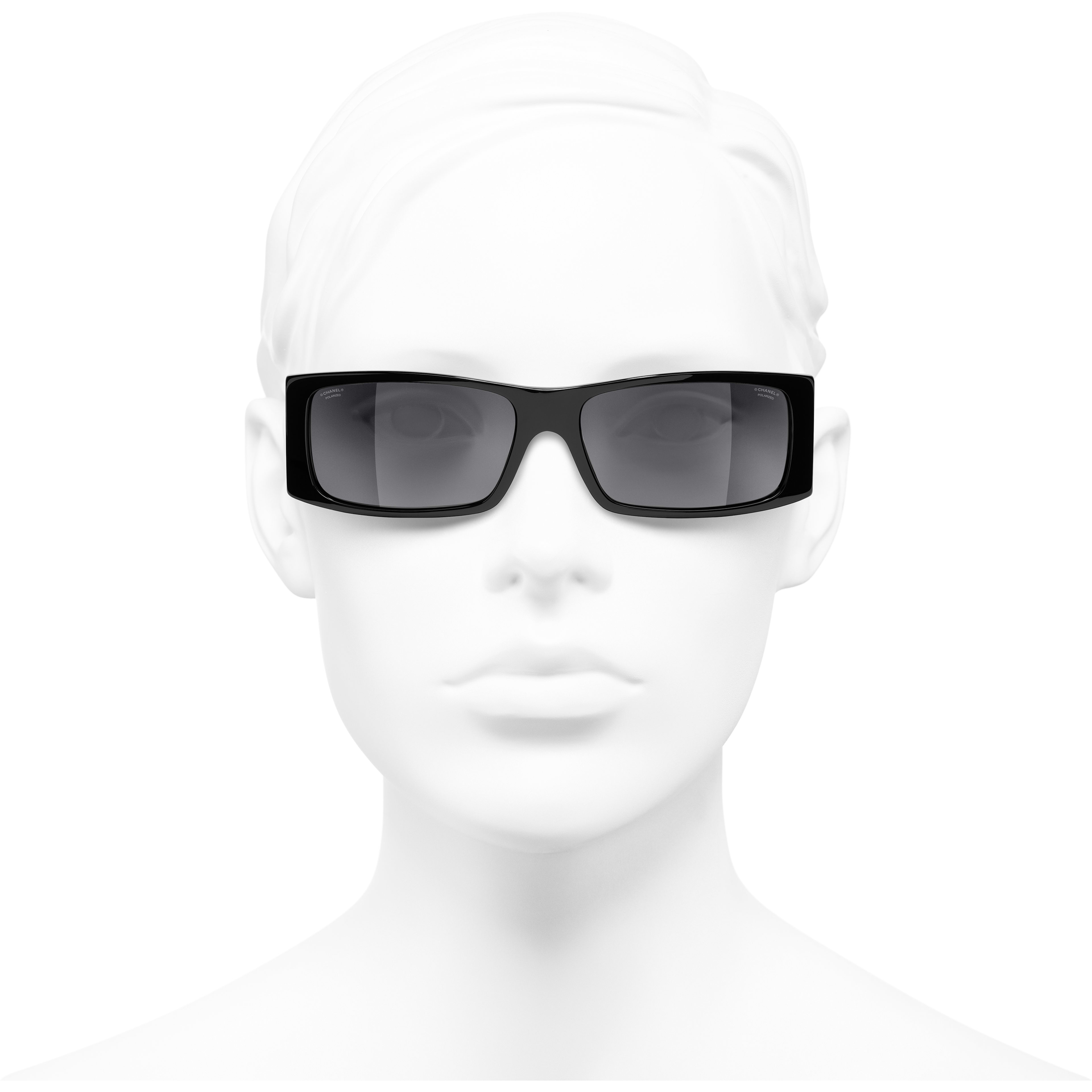 Rectangle Sunglasses - Black - Acetate - CHANEL - Worn front view - see standard sized version
