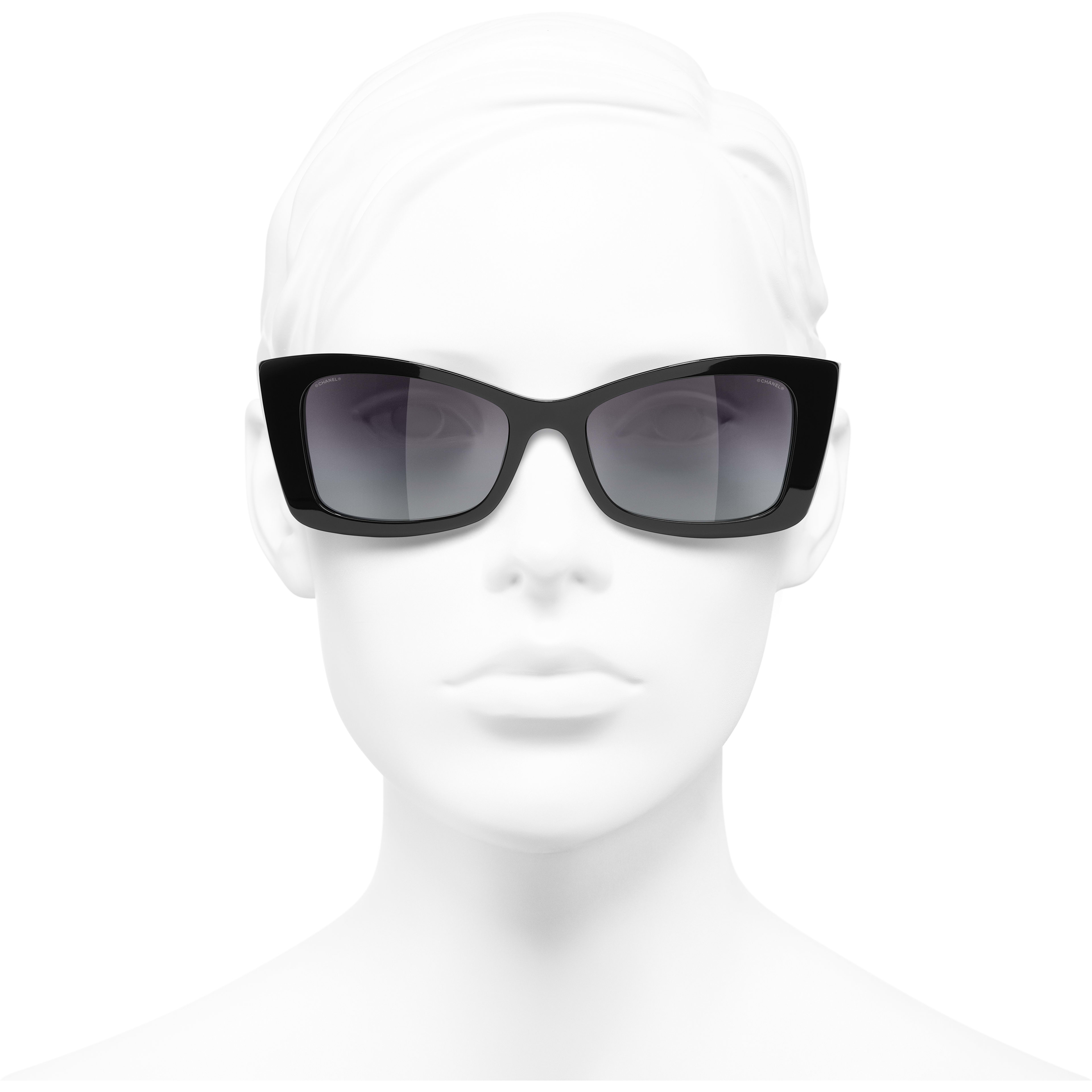 Rectangle Sunglasses - Black - Acetate - Worn front view - see standard sized version