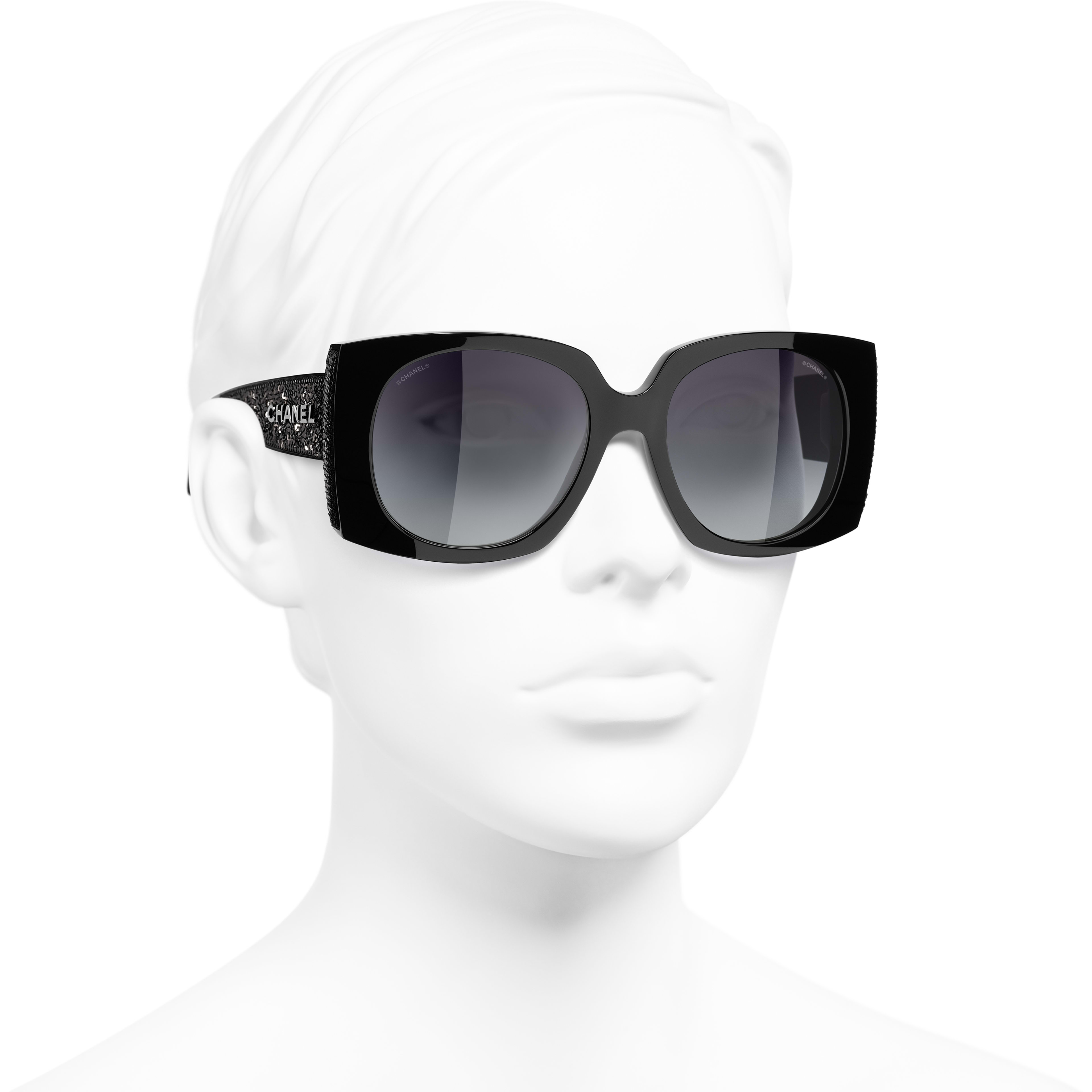 Rectangle Sunglasses - Black - Acetate & Sequins - CHANEL - Worn 3/4 view - see standard sized version