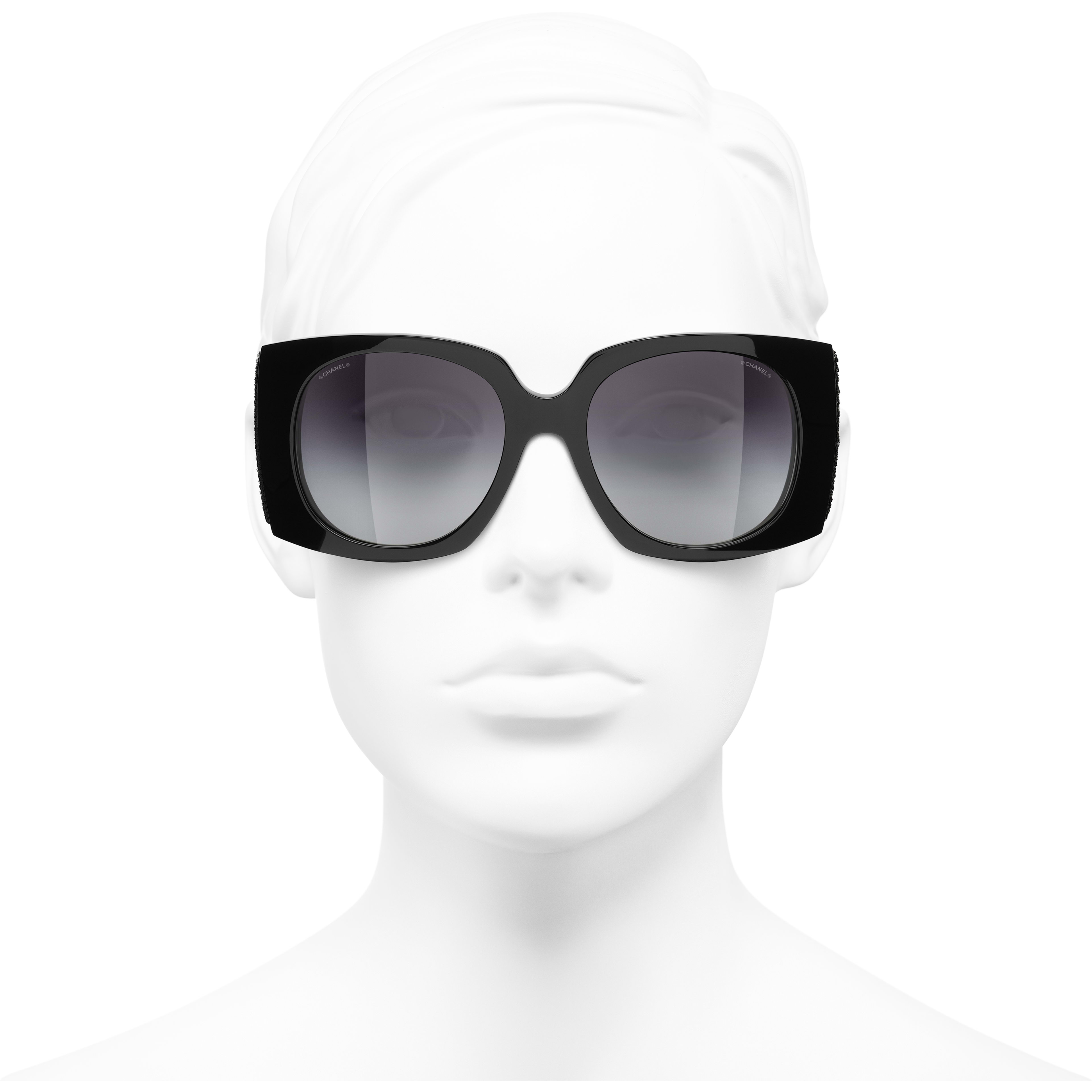 Rectangle Sunglasses - Black - Acetate & Sequins - CHANEL - Worn front view - see standard sized version