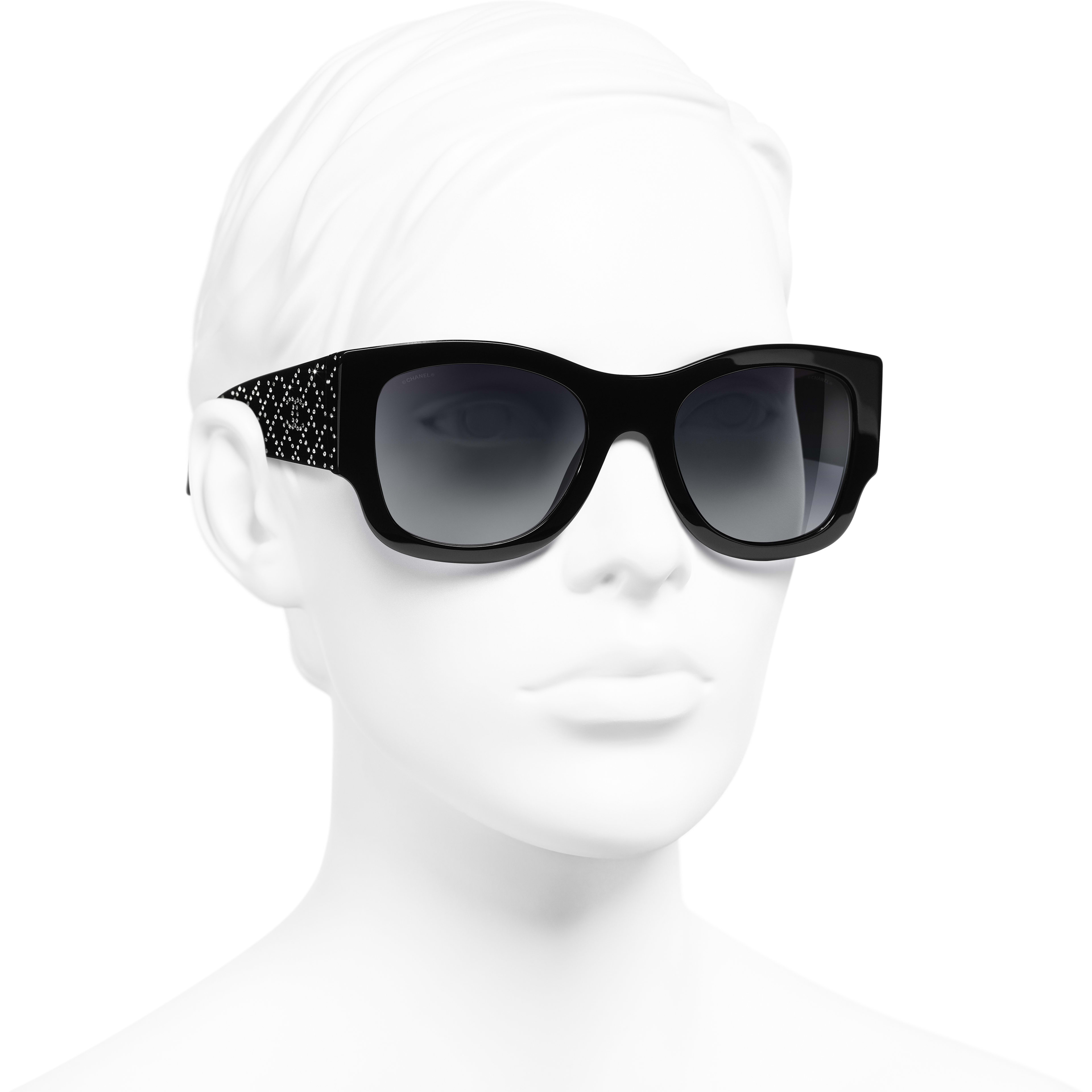 Rectangle Sunglasses - Black - Acetate & Strass - Worn 3/4 view - see standard sized version