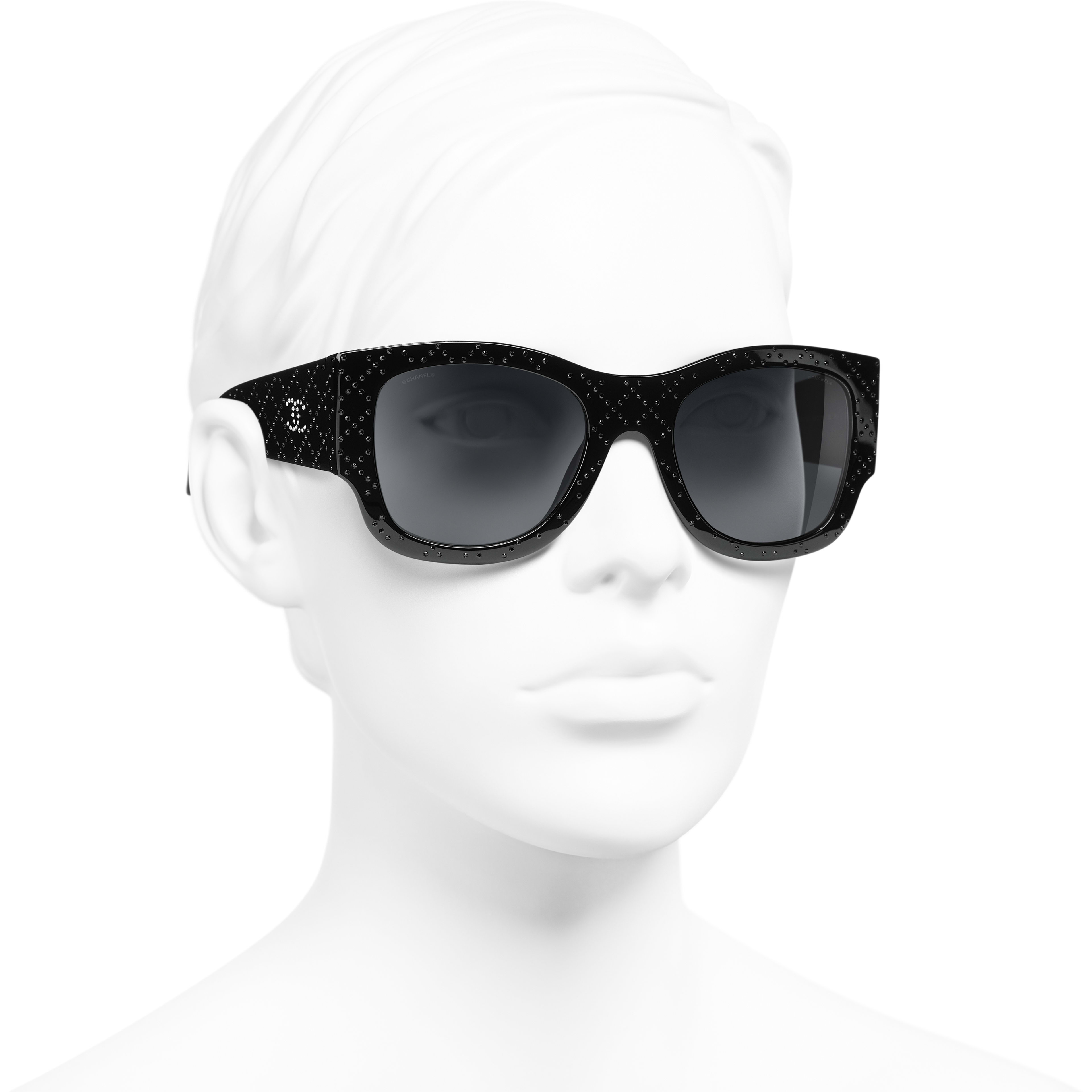 Rectangle Sunglasses - Black - Acetate & Diamanté - CHANEL - Worn 3/4 view - see standard sized version