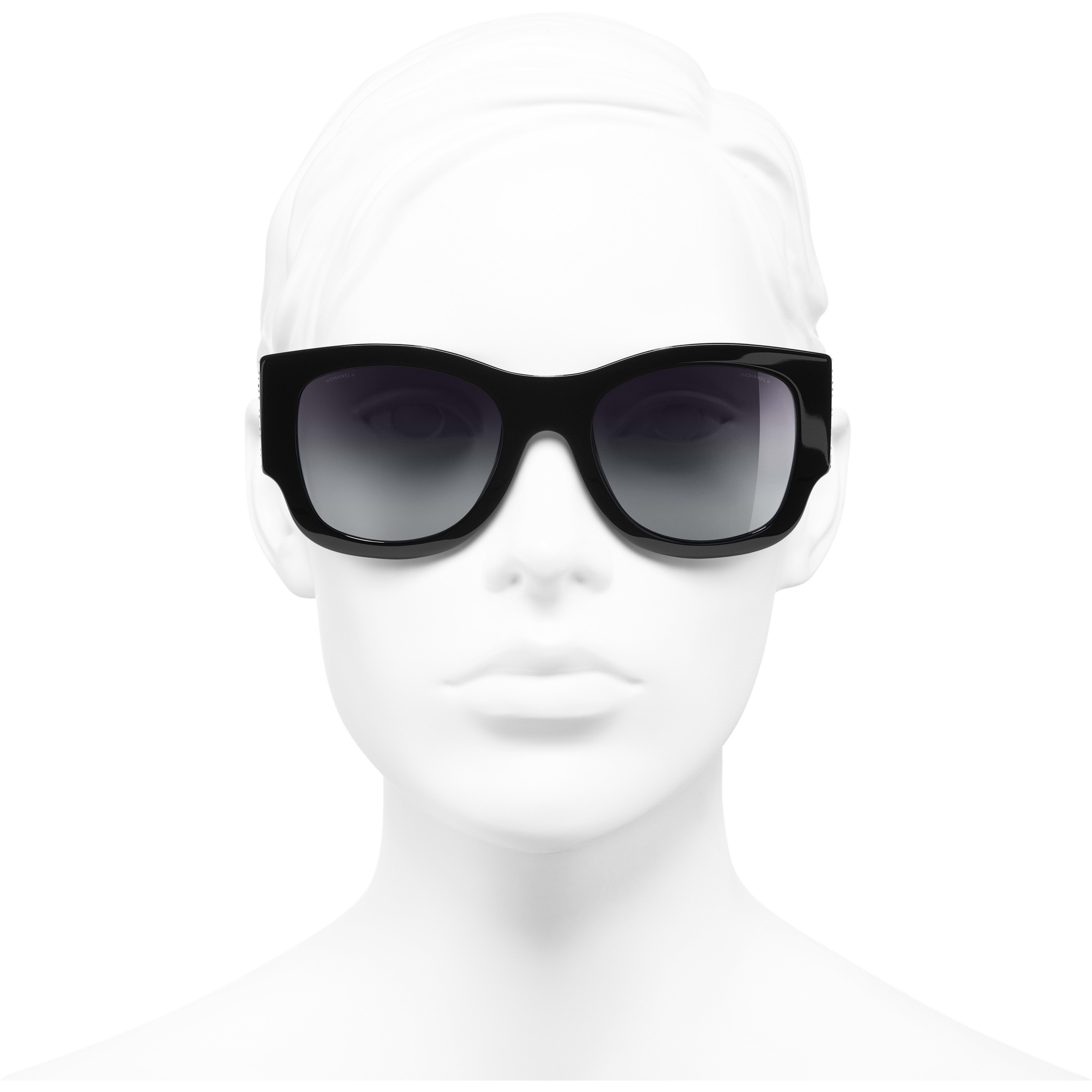 Rectangle Sunglasses - Black - Acetate & Strass - Worn front view - see standard sized version