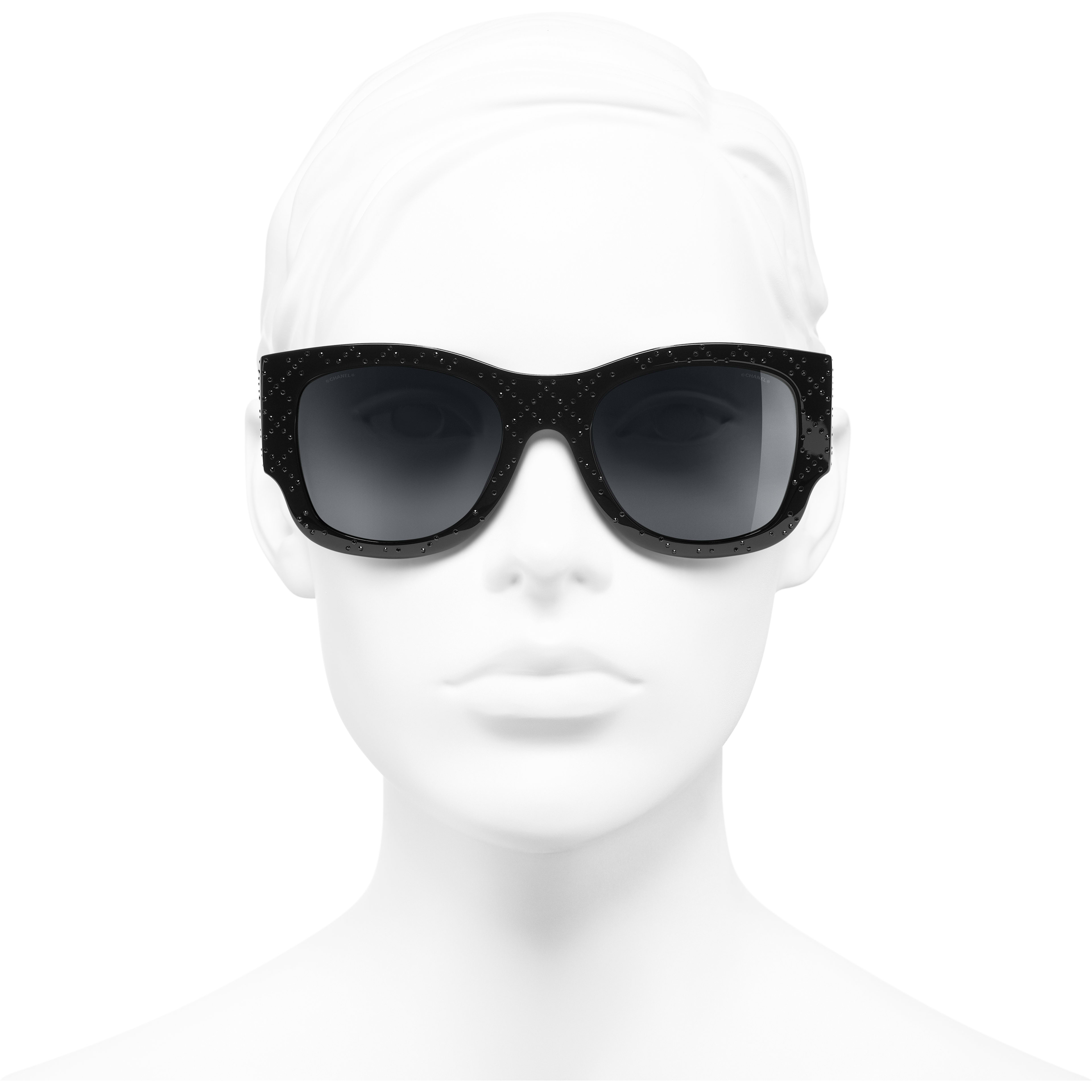 Rectangle Sunglasses - Black - Acetate & Diamanté - CHANEL - Worn front view - see standard sized version