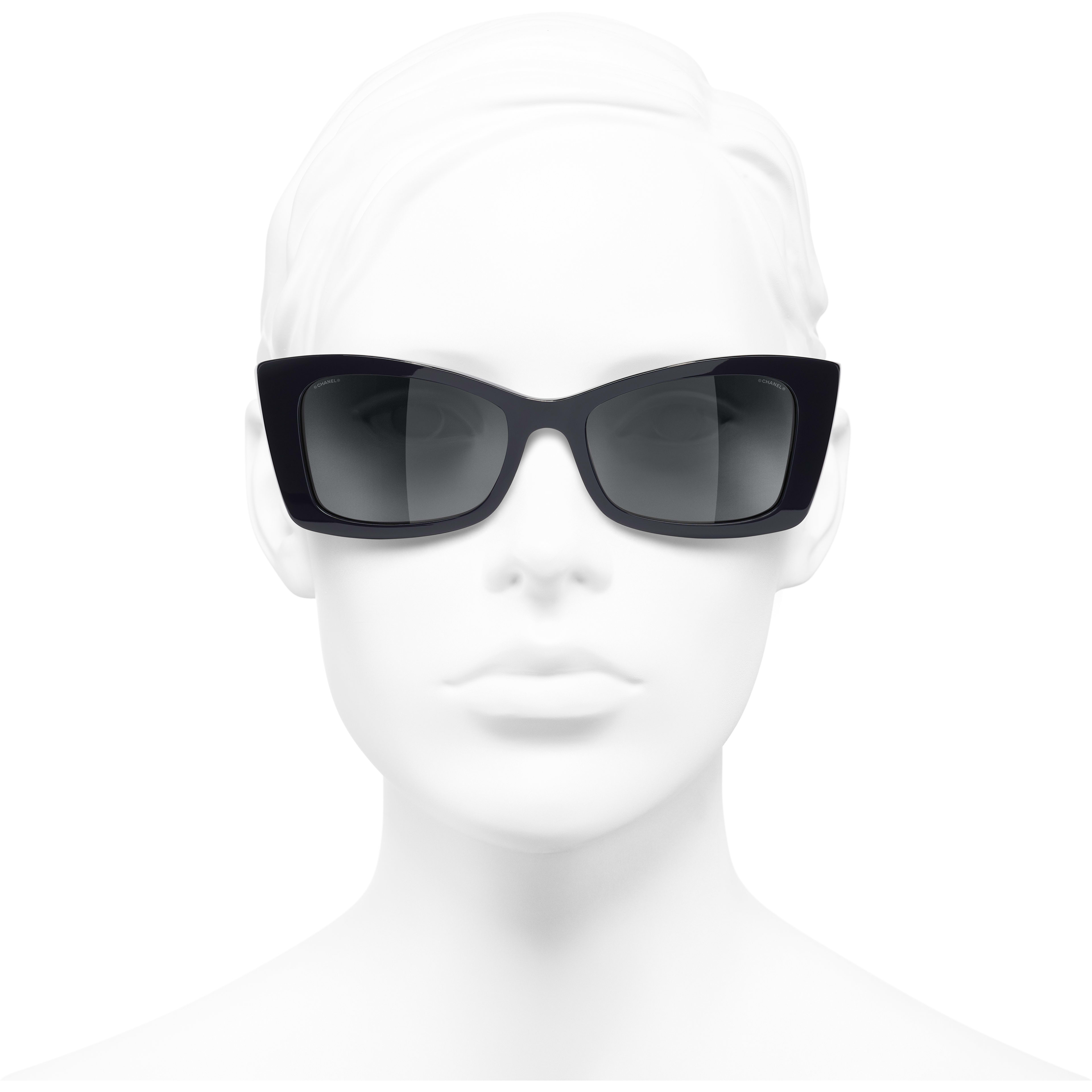 Rectangle Sunglasses - Dark Blue - Acetate - CHANEL - Worn front view - see standard sized version