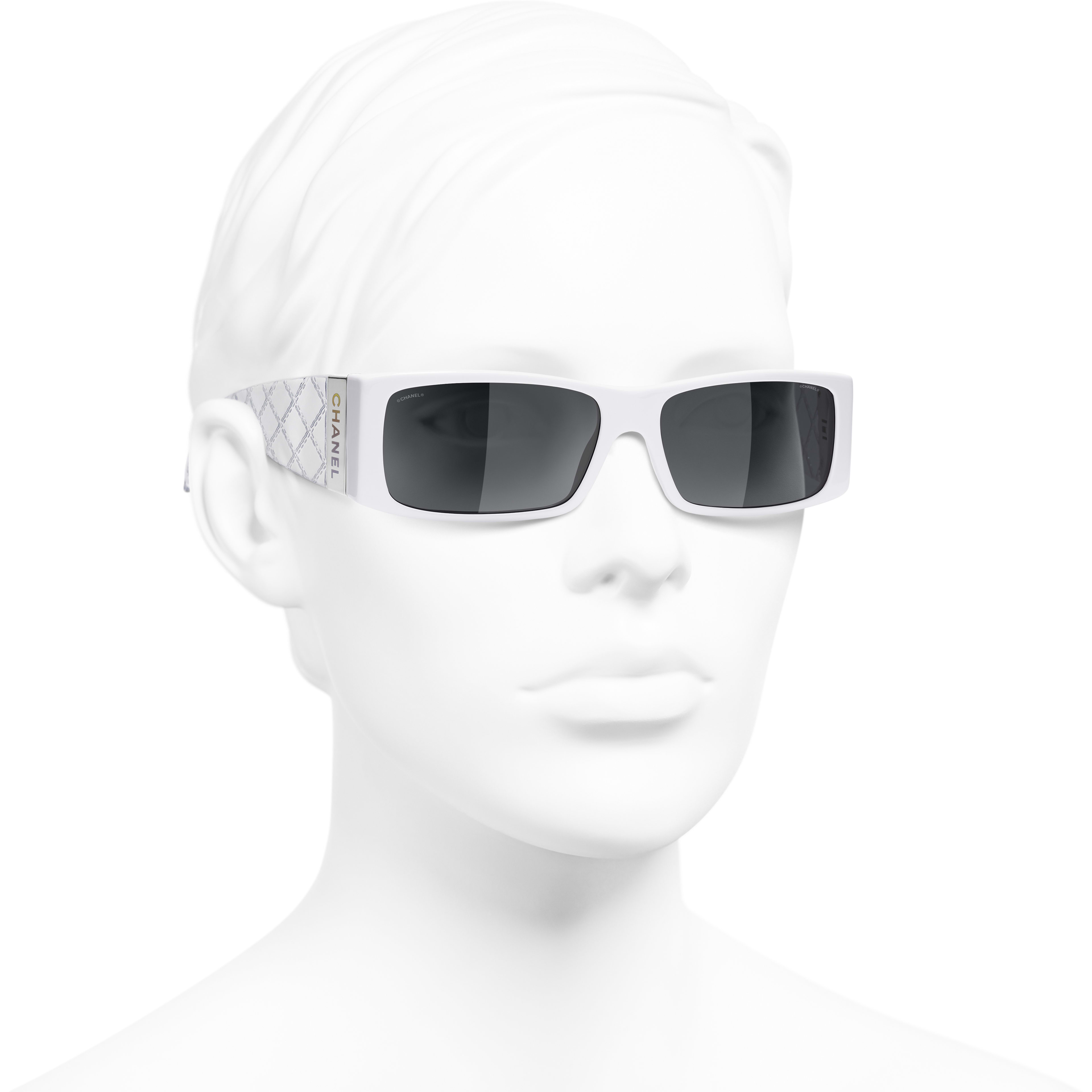 Rectangle Sunglasses - White - Acetate - CHANEL - Worn 3/4 view - see standard sized version
