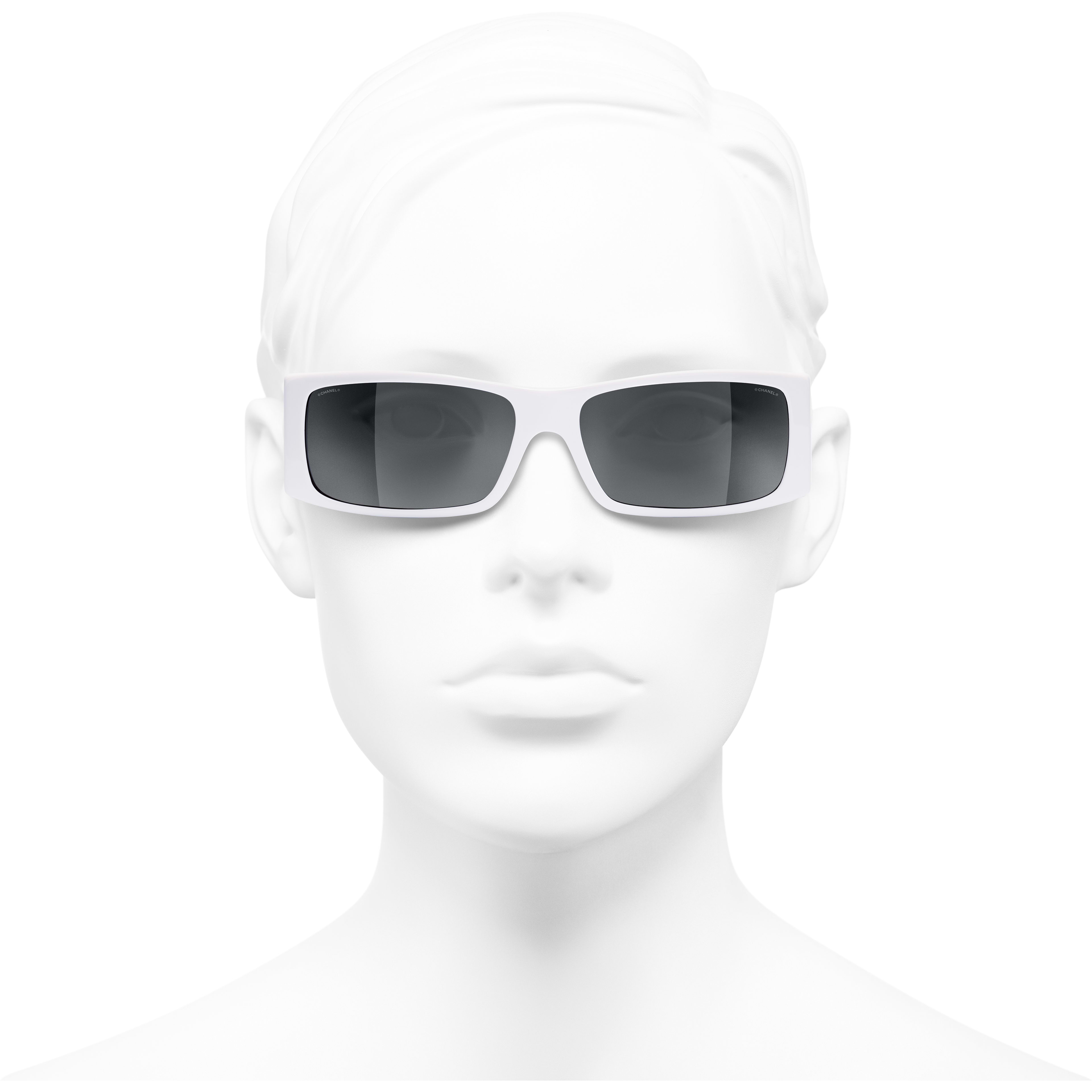 Rectangle Sunglasses - White - Acetate - CHANEL - Worn front view - see standard sized version