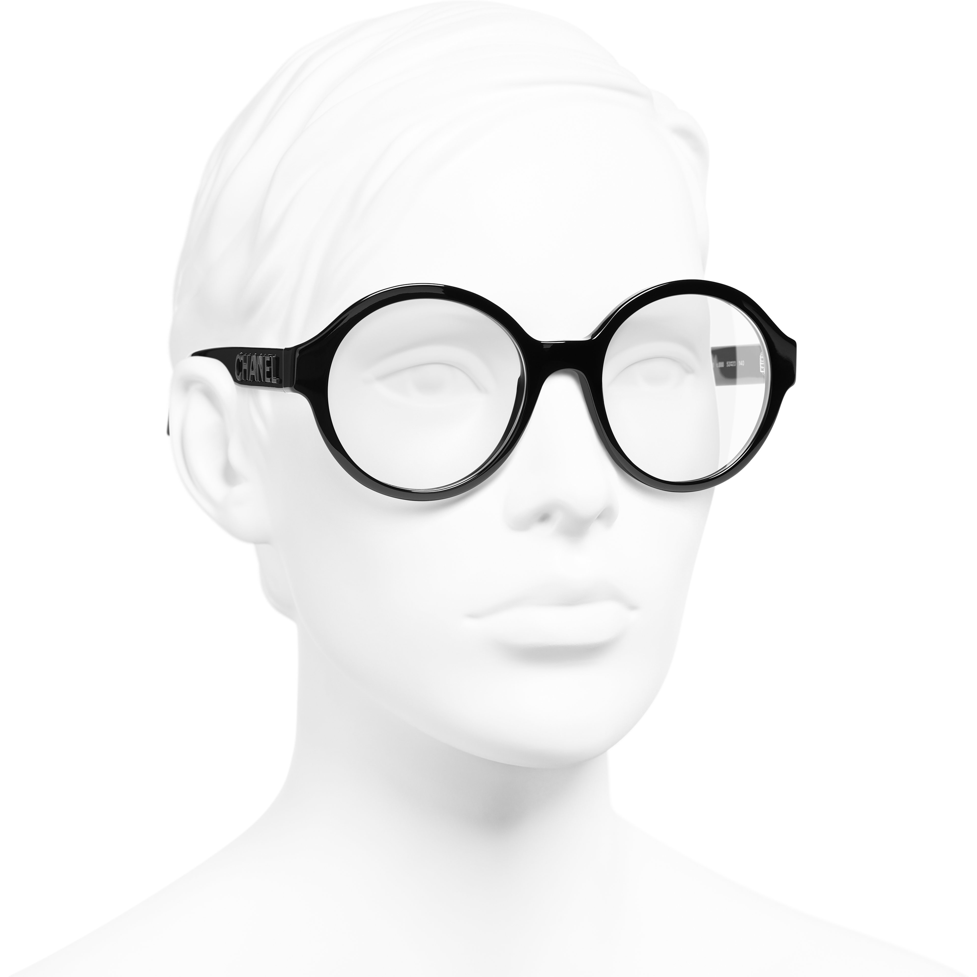 Round Eyeglasses - Black - Acetate - CHANEL - Worn 3/4 view - see standard sized version
