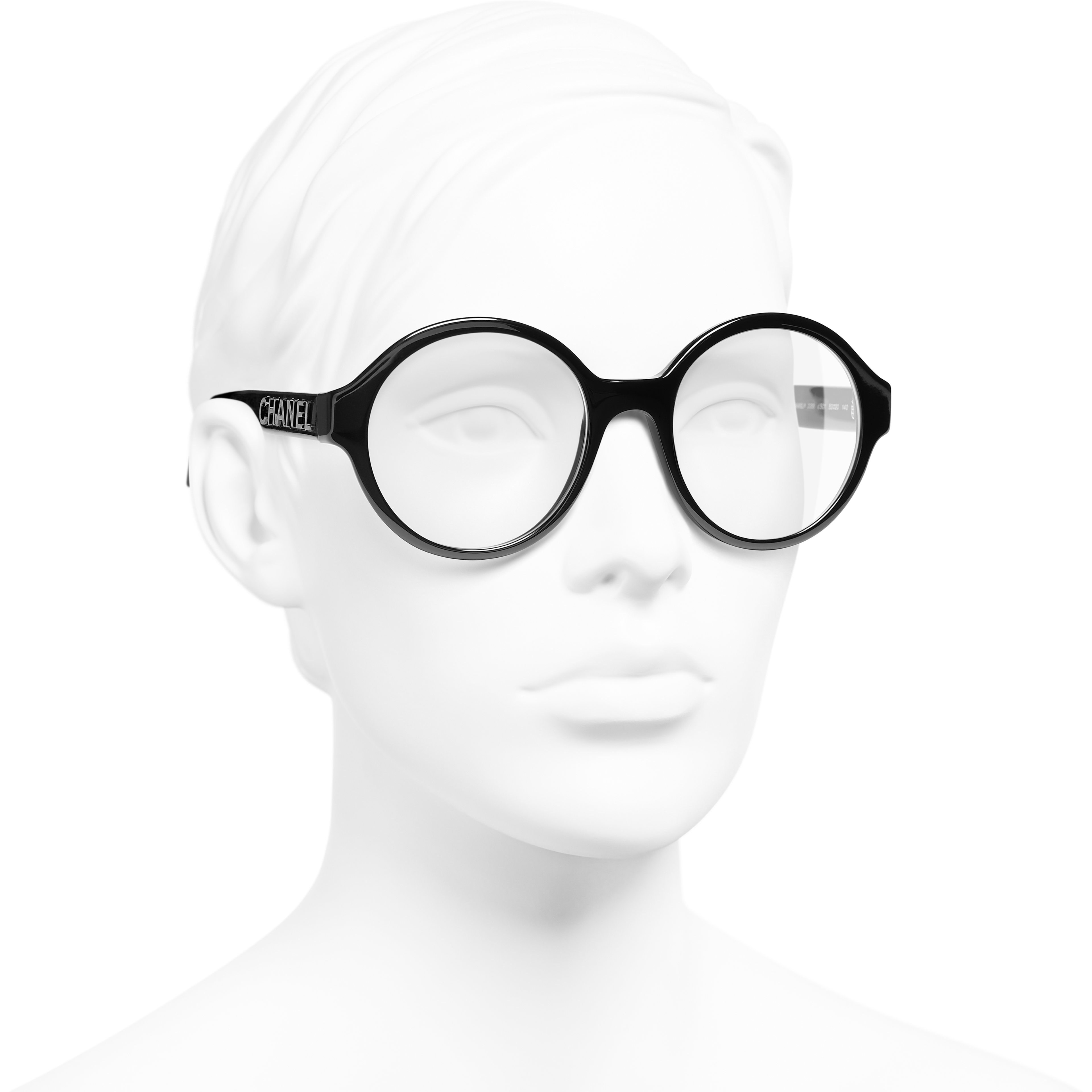 Round Eyeglasses - Black - Acetate - Worn 3/4 view - see standard sized version