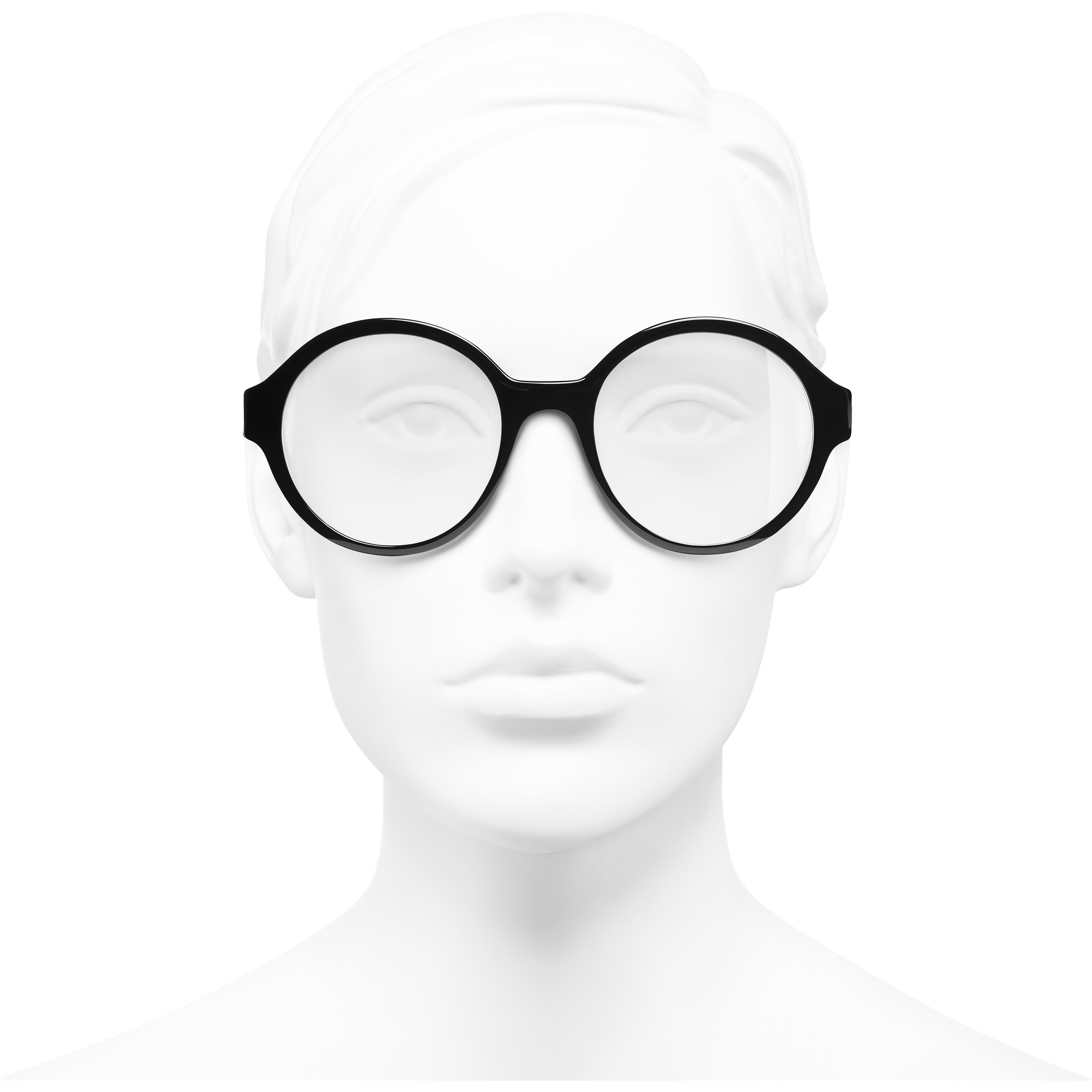 Round Eyeglasses - Black - Acetate - CHANEL - Worn front view - see standard sized version
