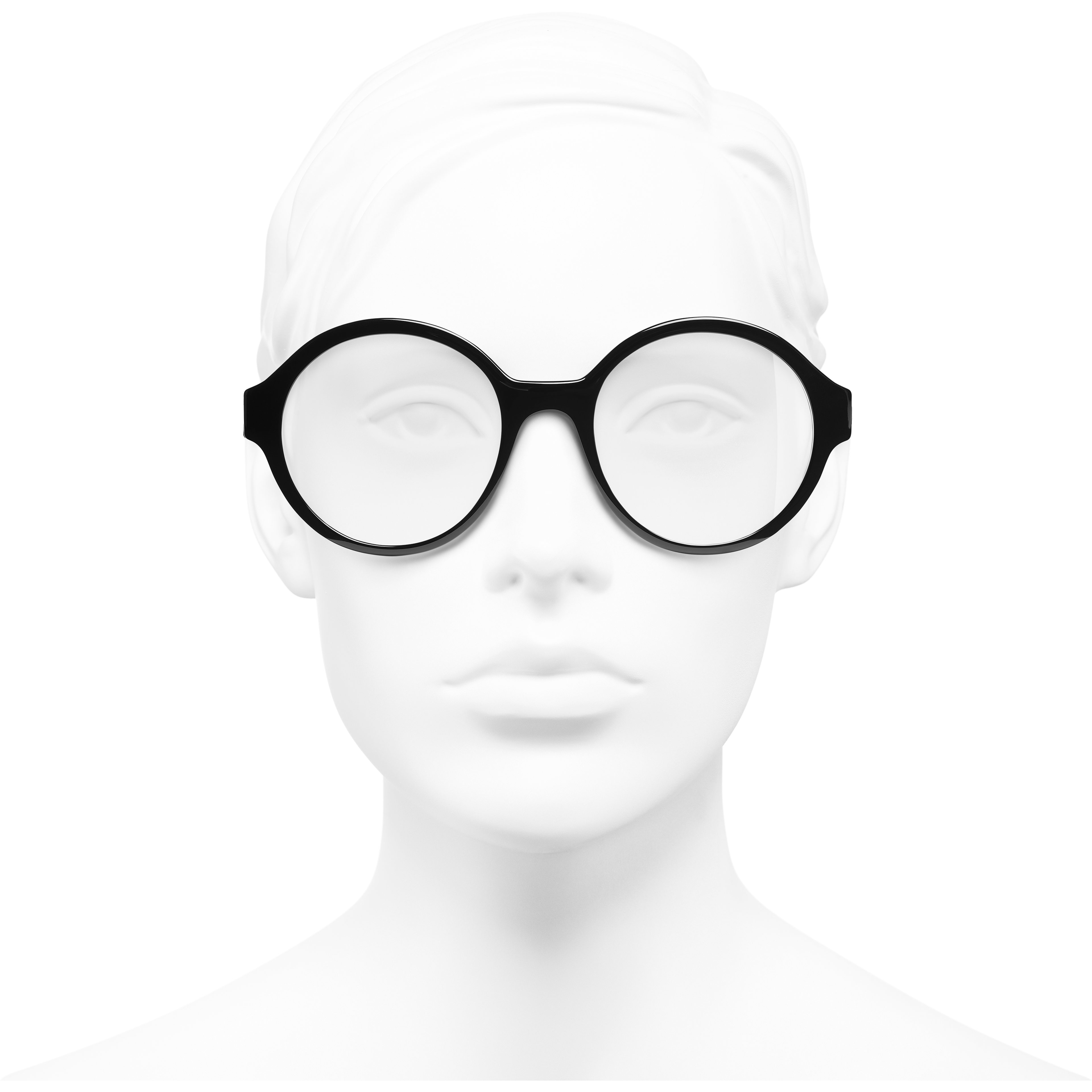 Round Eyeglasses - Black - Acetate - Worn front view - see standard sized version