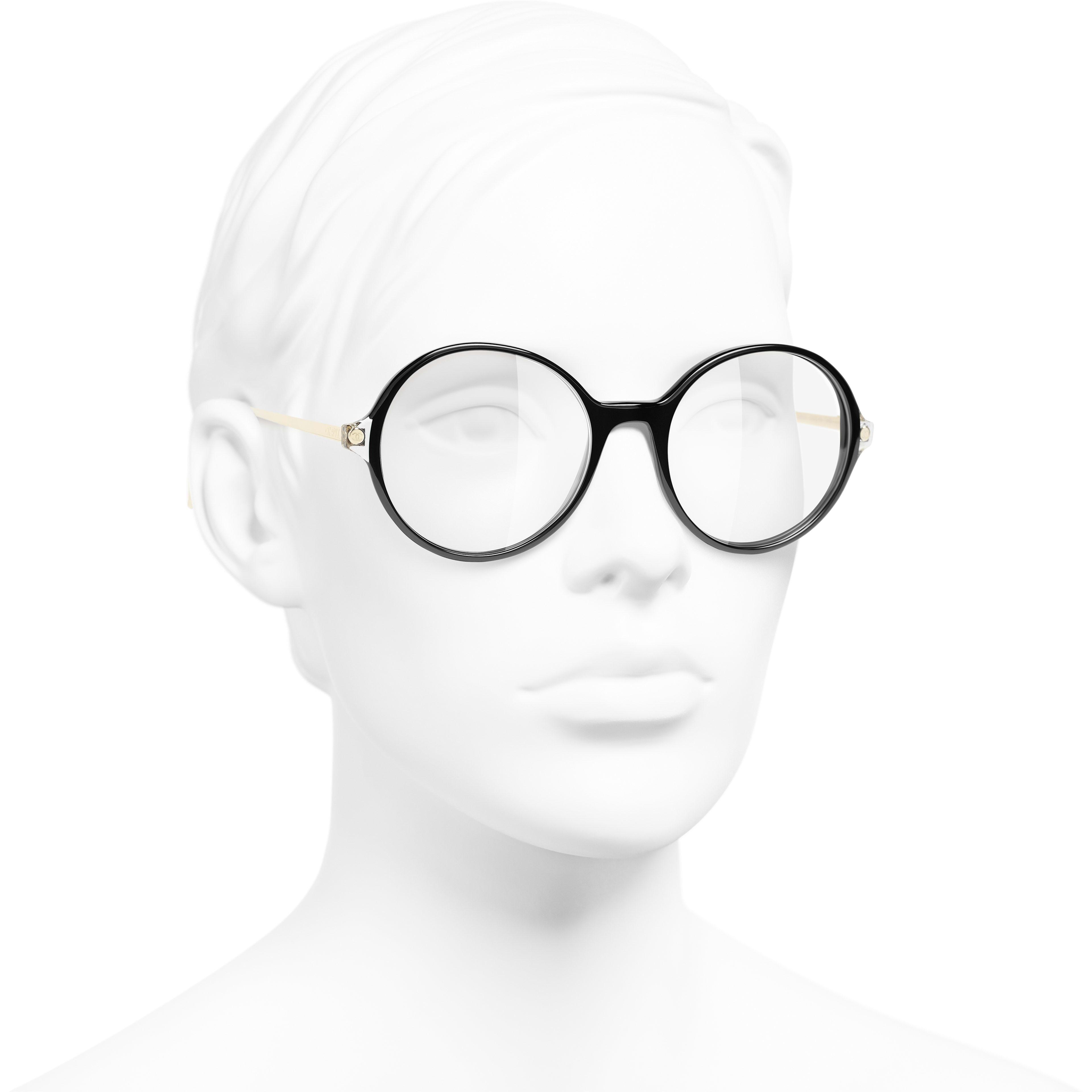 Round Eyeglasses - Black - Acetate & Metal - CHANEL - Worn 3/4 view - see standard sized version