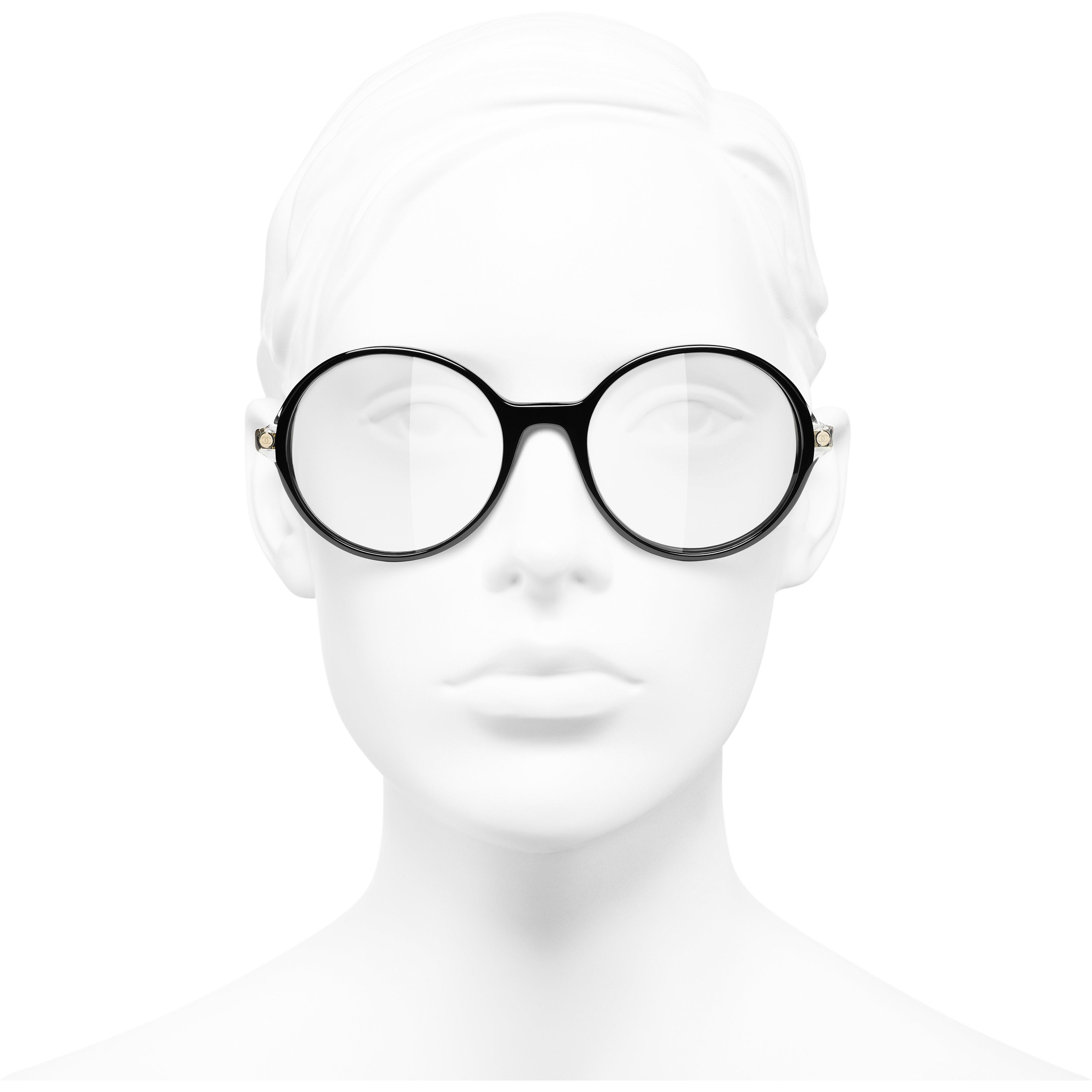 Round Eyeglasses - Black - Acetate & Metal - CHANEL - Worn front view - see standard sized version