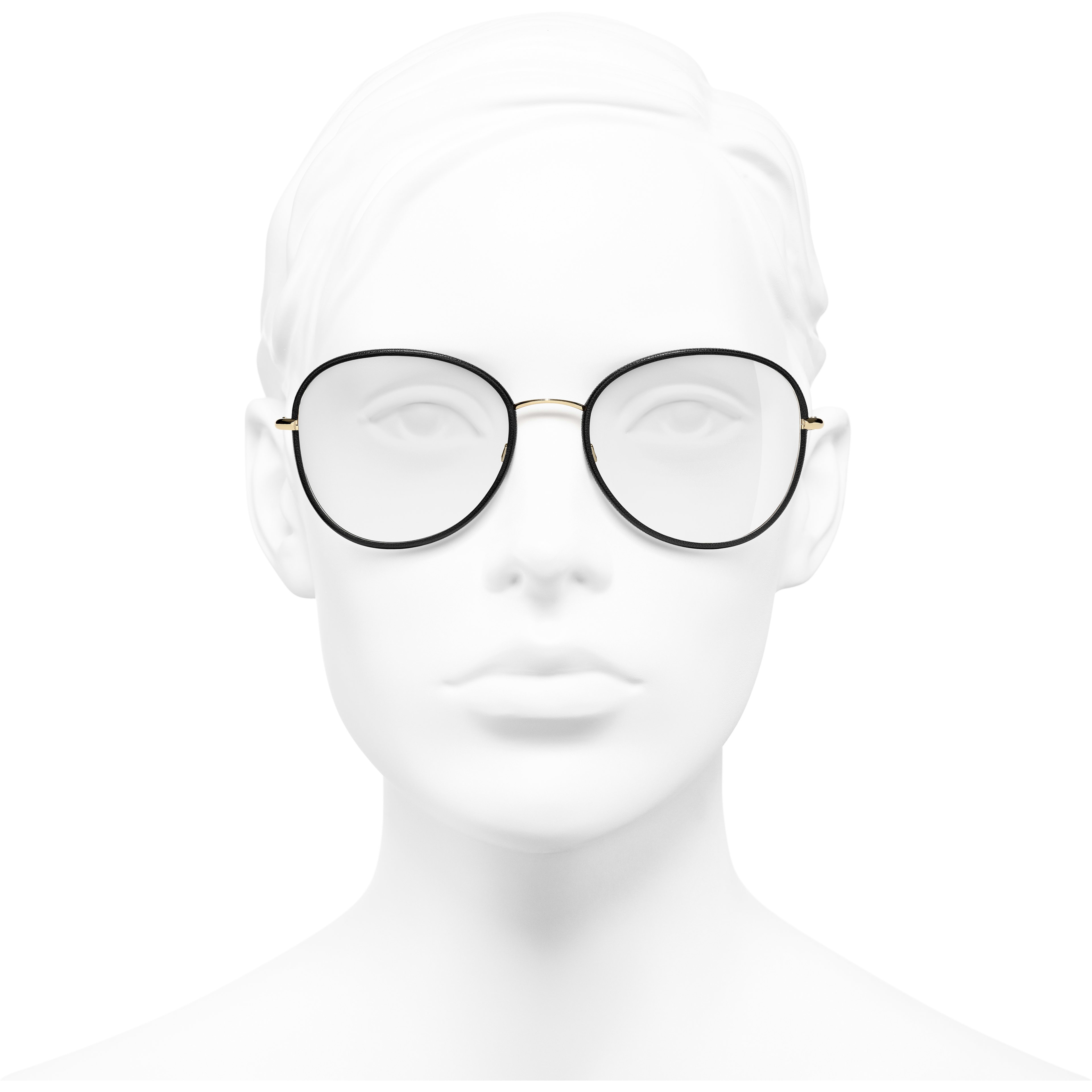 Round Eyeglasses - Black & Gold - Metal - Worn front view - see standard sized version