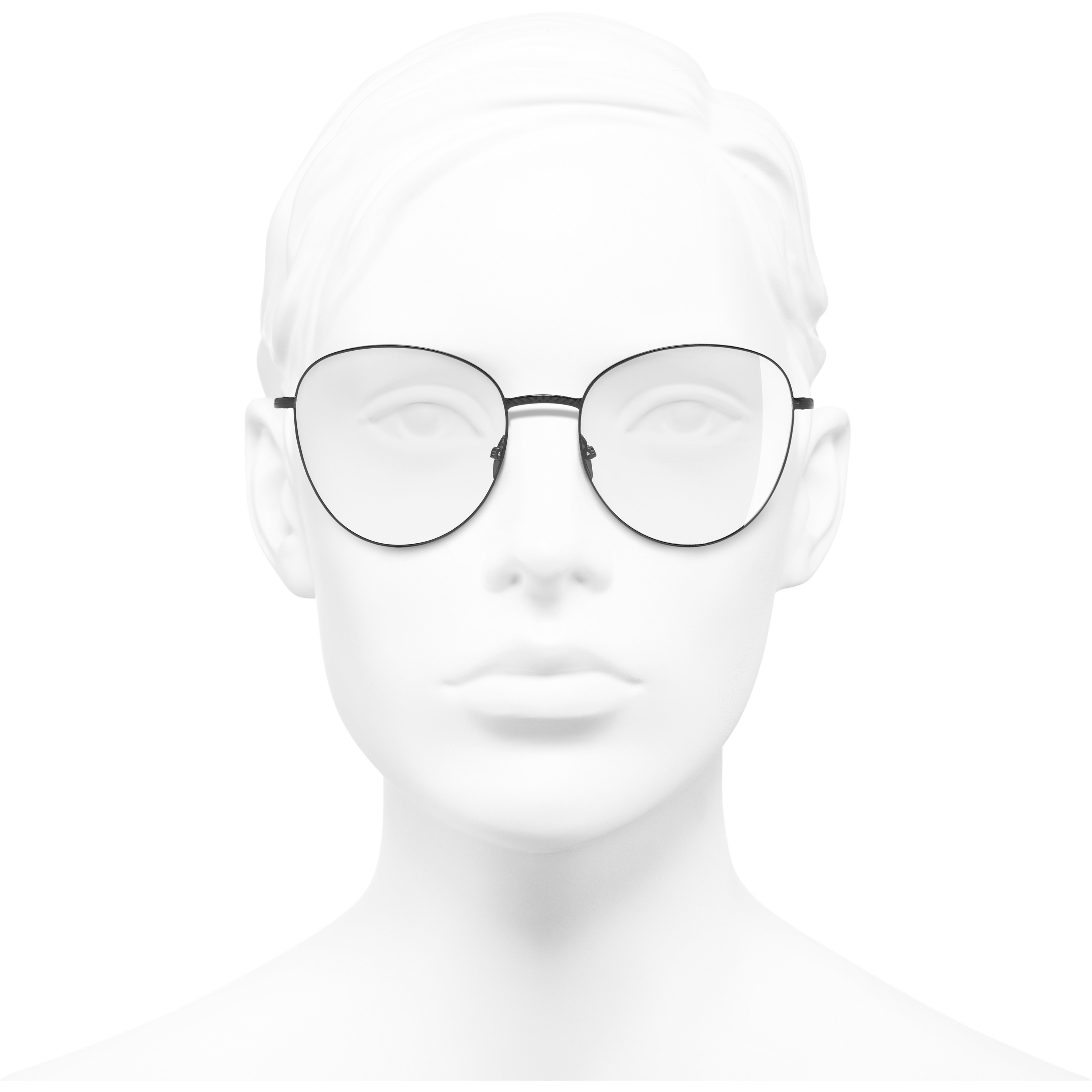 Round Eyeglasses - Black - Metal - Worn front view - see standard sized version
