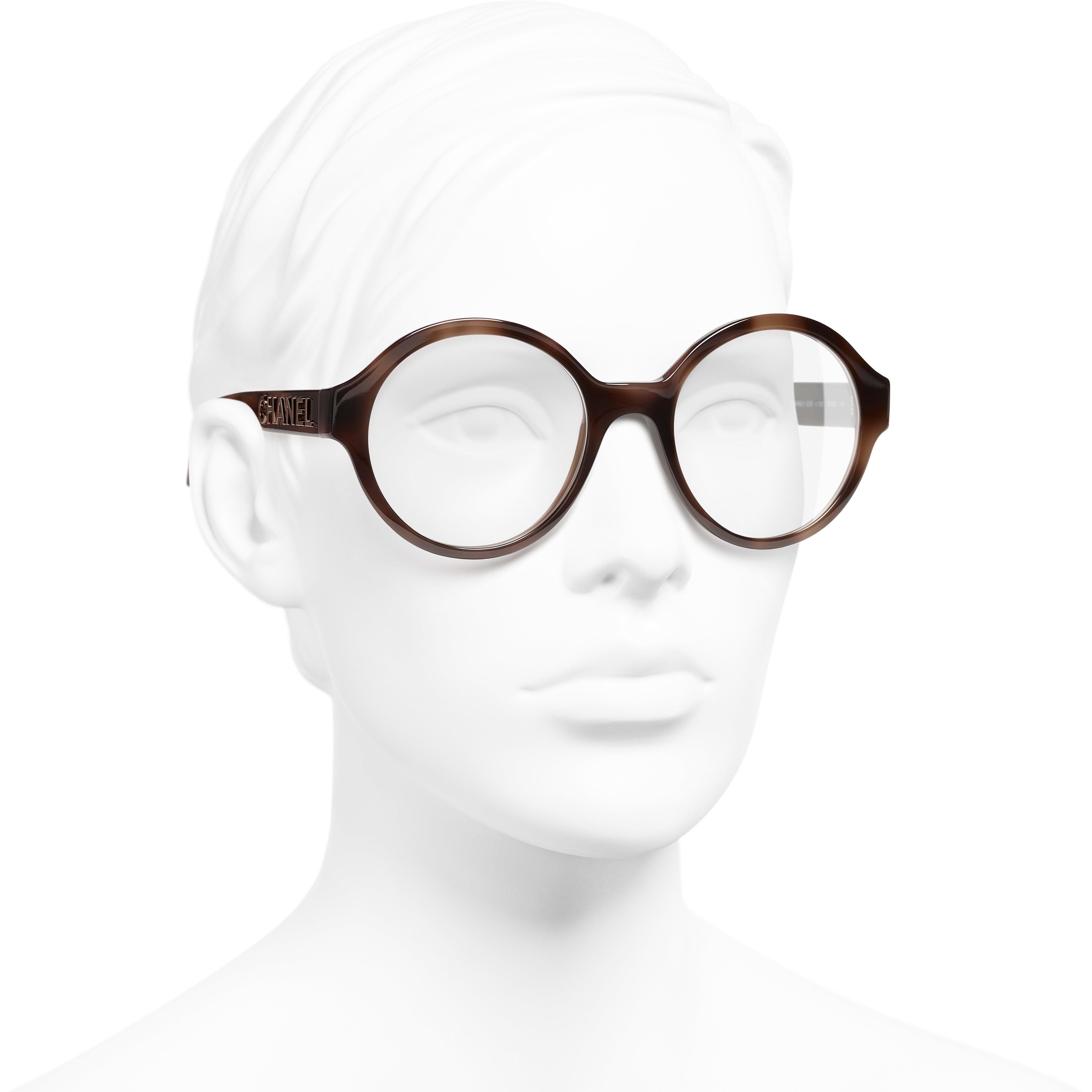 แว่นสายตาทรงกลม - สีน้ำตาล - อะซิเตท - มุมมองการสวมใส่ 3/4 - ดูเวอร์ชันขนาดมาตรฐาน