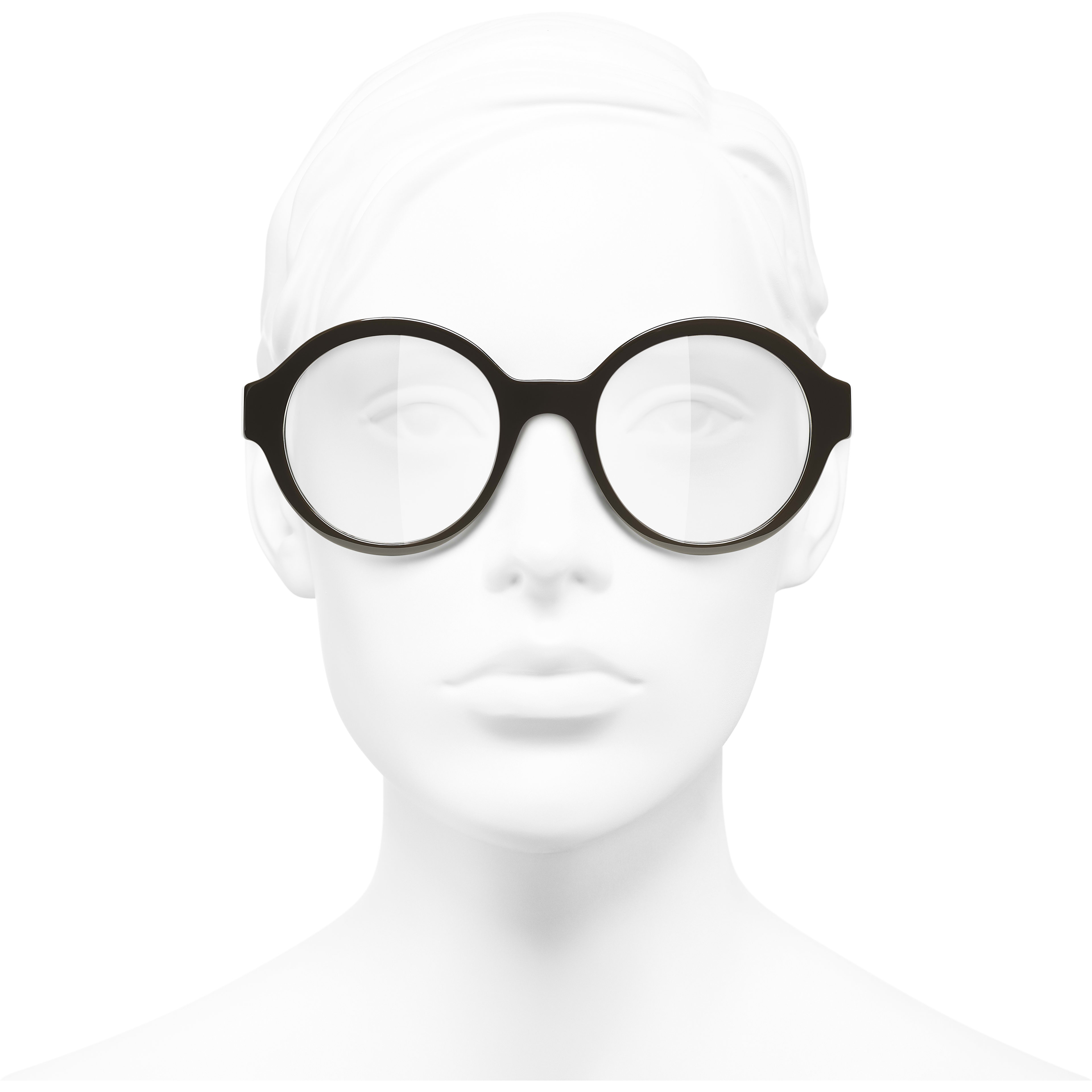 Round Eyeglasses - Brown - Acetate - CHANEL - Worn front view - see standard sized version