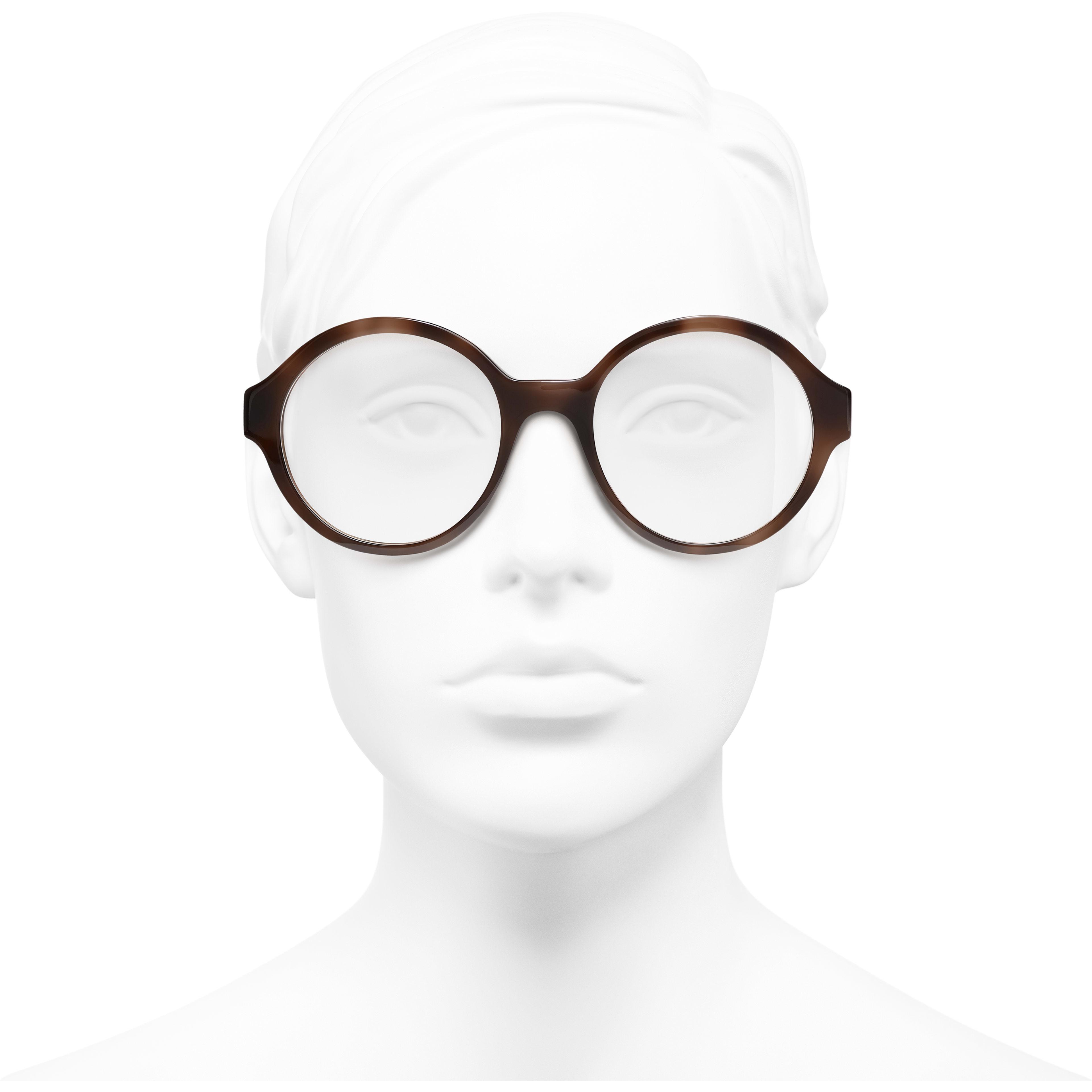 แว่นสายตาทรงกลม - สีน้ำตาล - อะซิเตท - มุมมองการสวมใส่ด้านหน้า - ดูเวอร์ชันขนาดมาตรฐาน