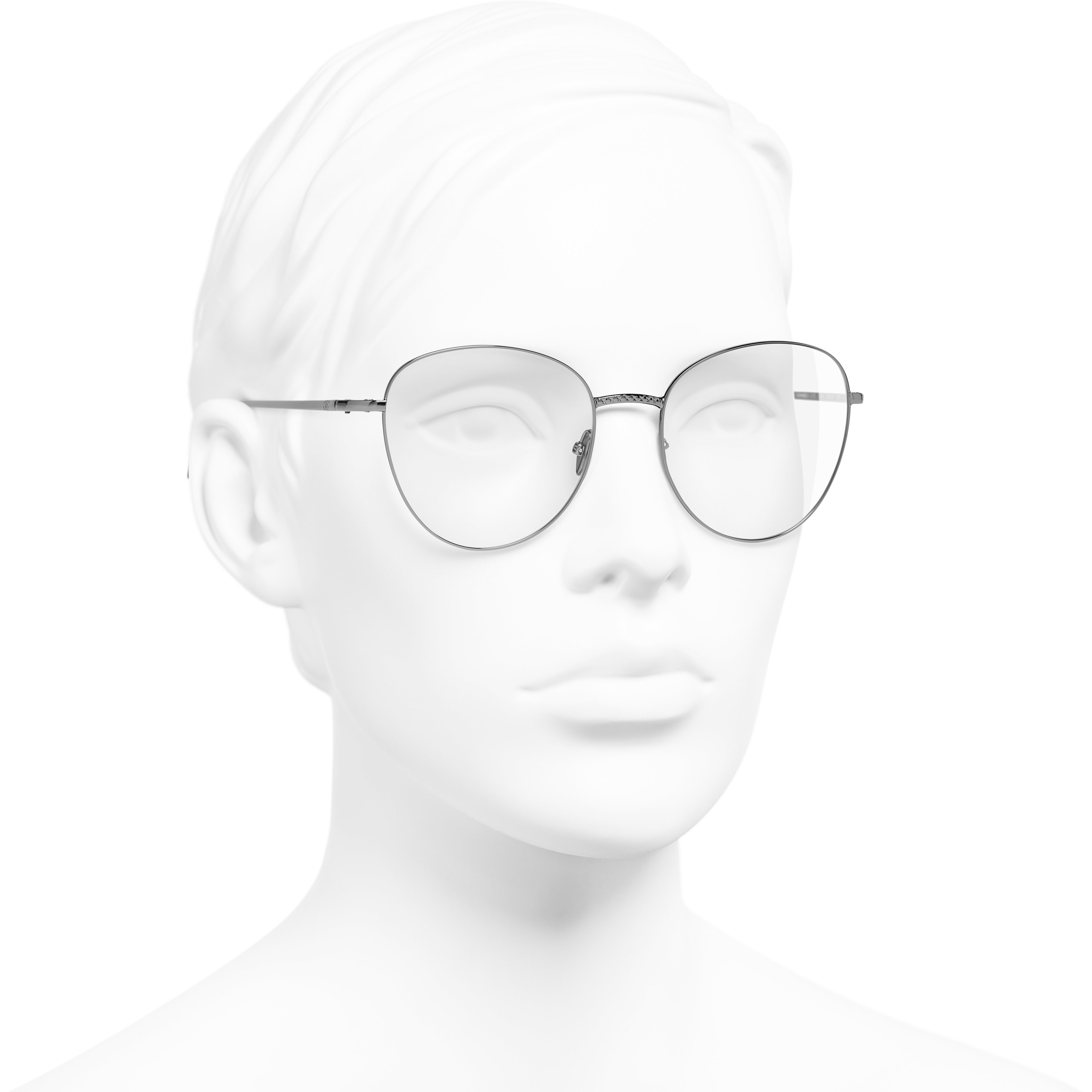 Round Eyeglasses - Dark Silver - Metal - Worn 3/4 view - see standard sized version