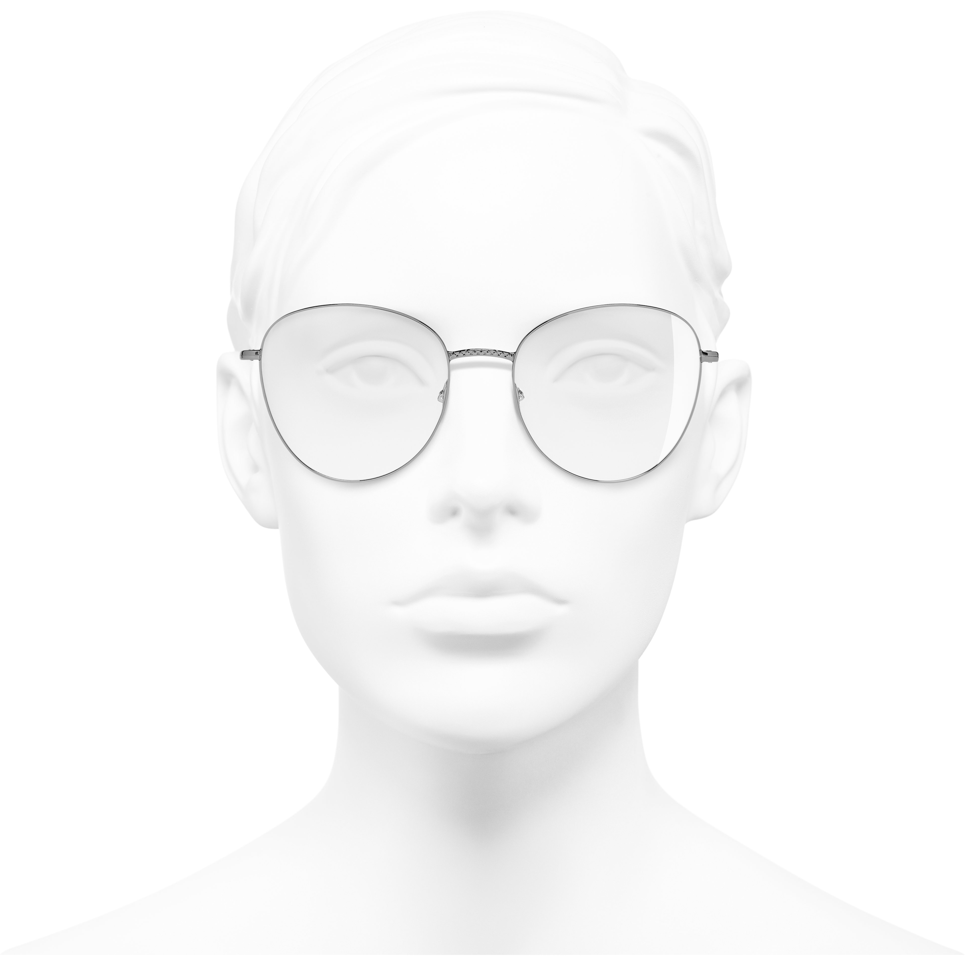 Round Eyeglasses - Dark Silver - Metal - Worn front view - see standard sized version