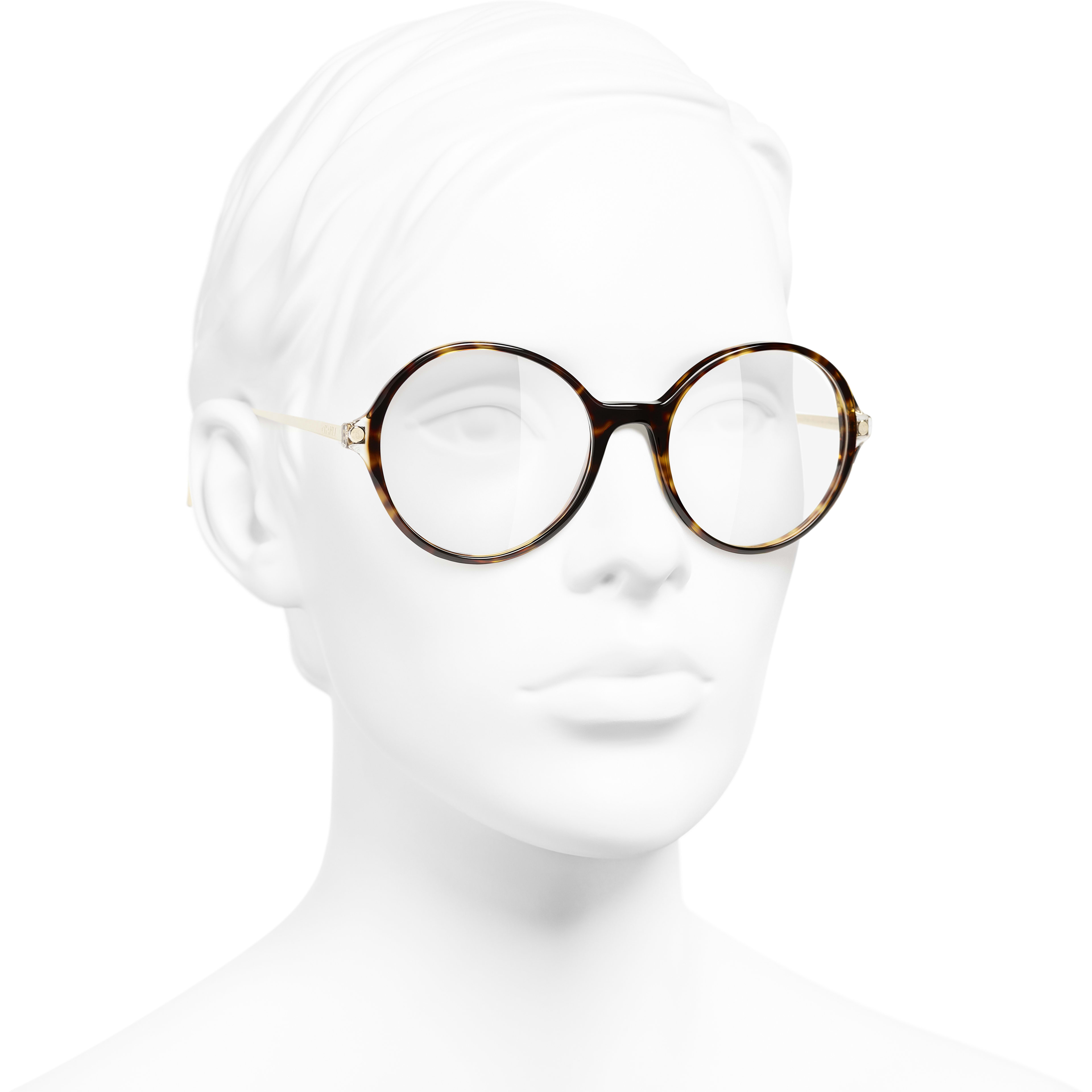 Round Eyeglasses - Dark Tortoise - Acetate & Metal - CHANEL - Worn 3/4 view - see standard sized version