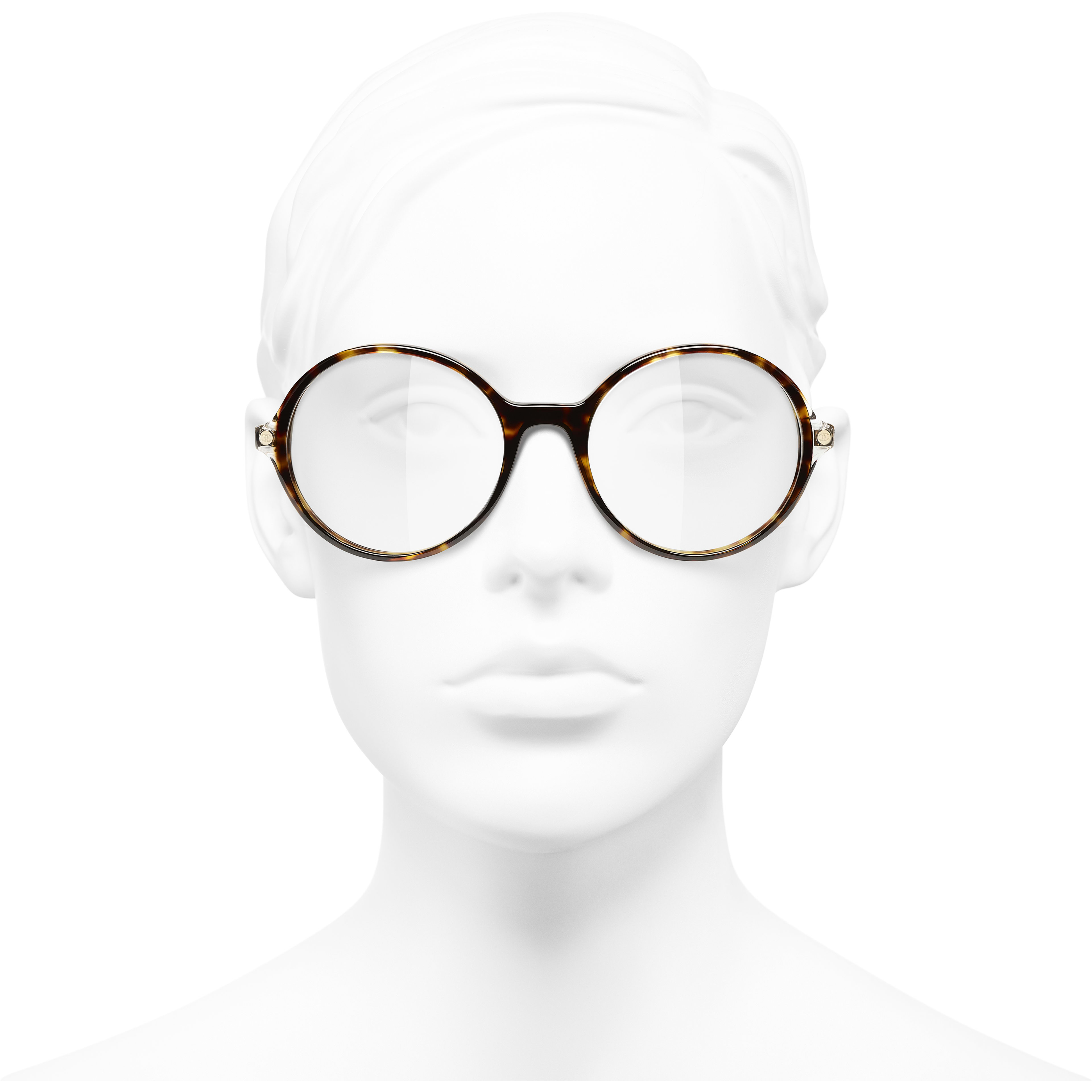 Round Eyeglasses - Dark Tortoise - Acetate & Metal - CHANEL - Worn front view - see standard sized version
