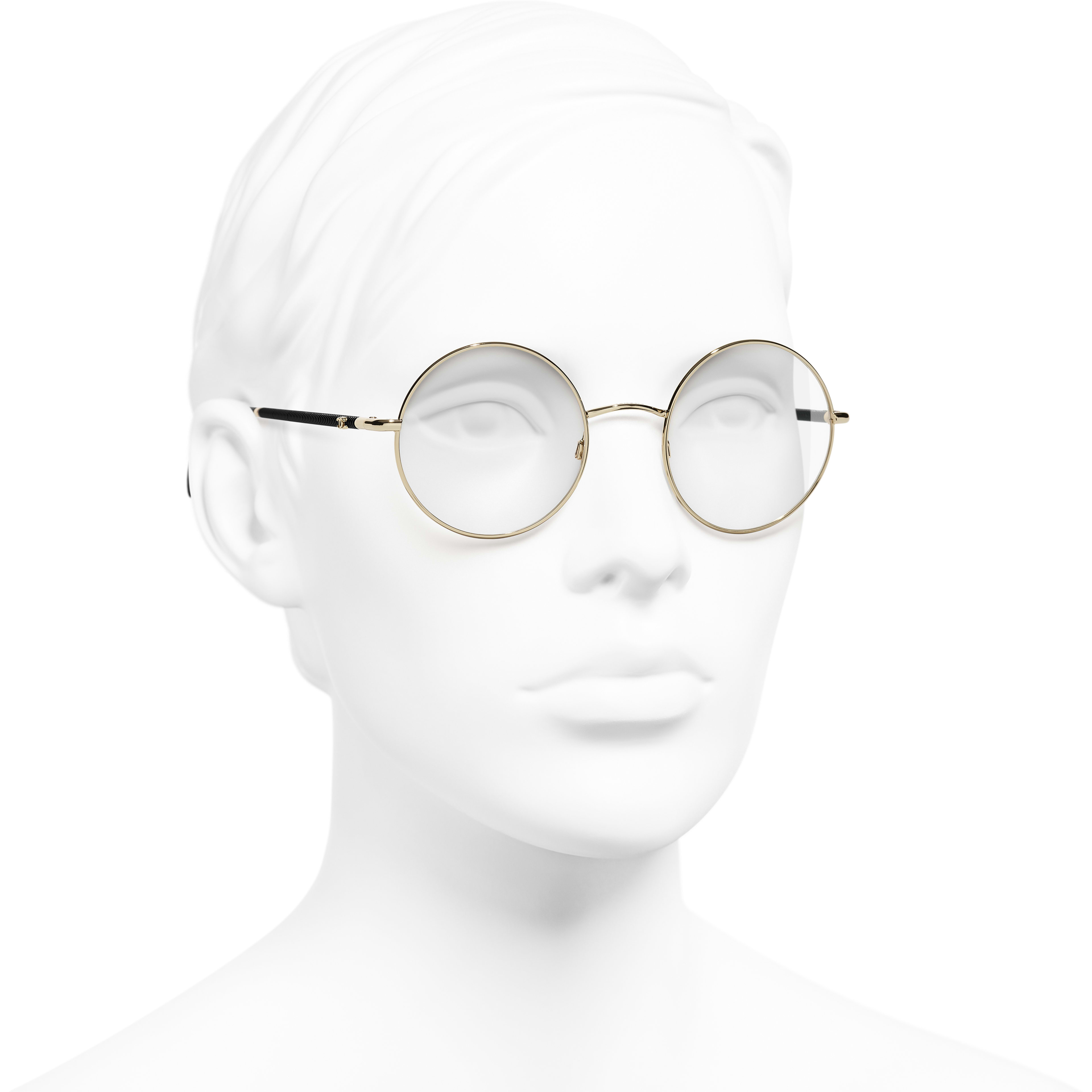 198b09d06e8 ... Round Eyeglasses - Gold - Metal - Worn 3 4 view - see standard sized