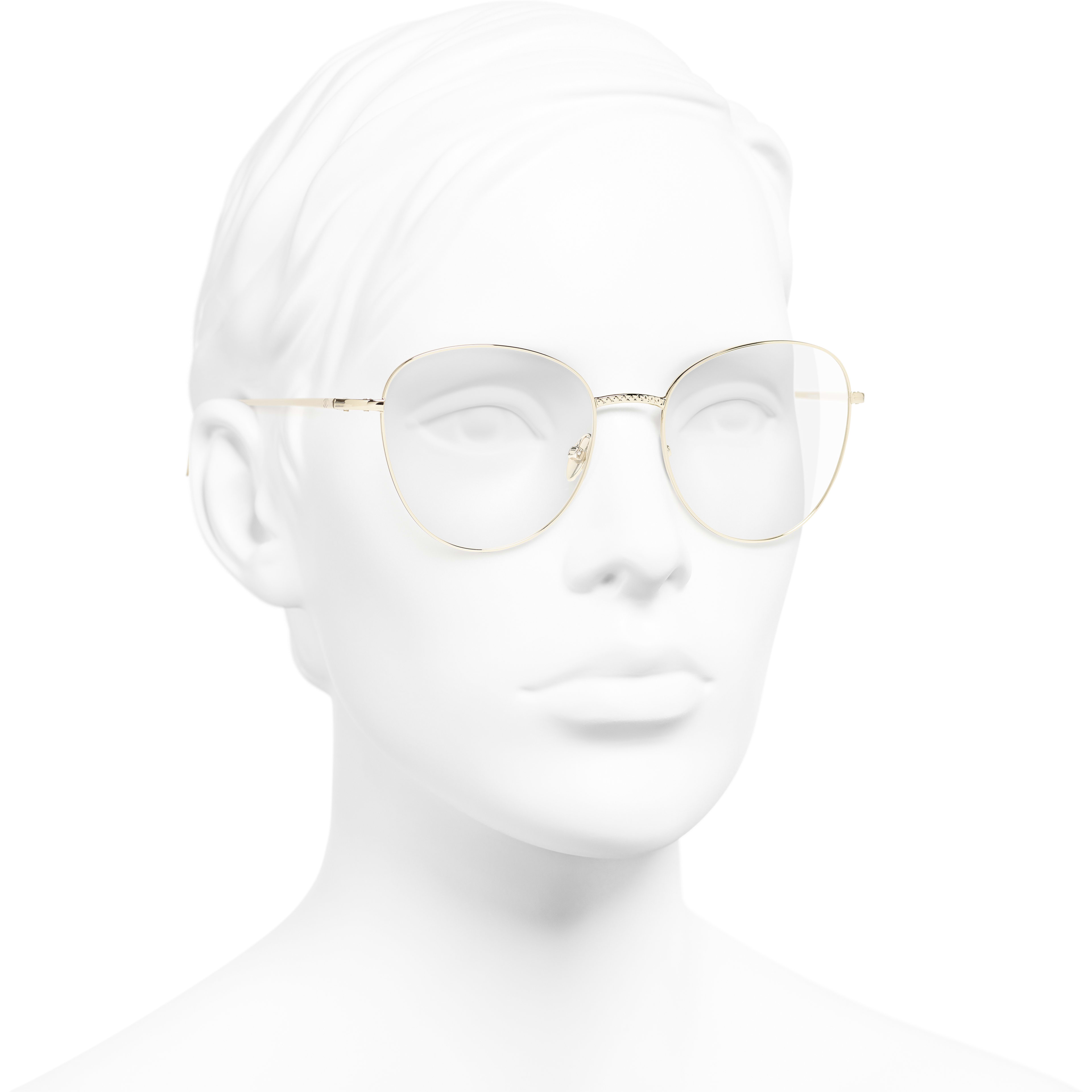 Round Eyeglasses - Gold - Metal - CHANEL - Worn 3/4 view - see standard sized version