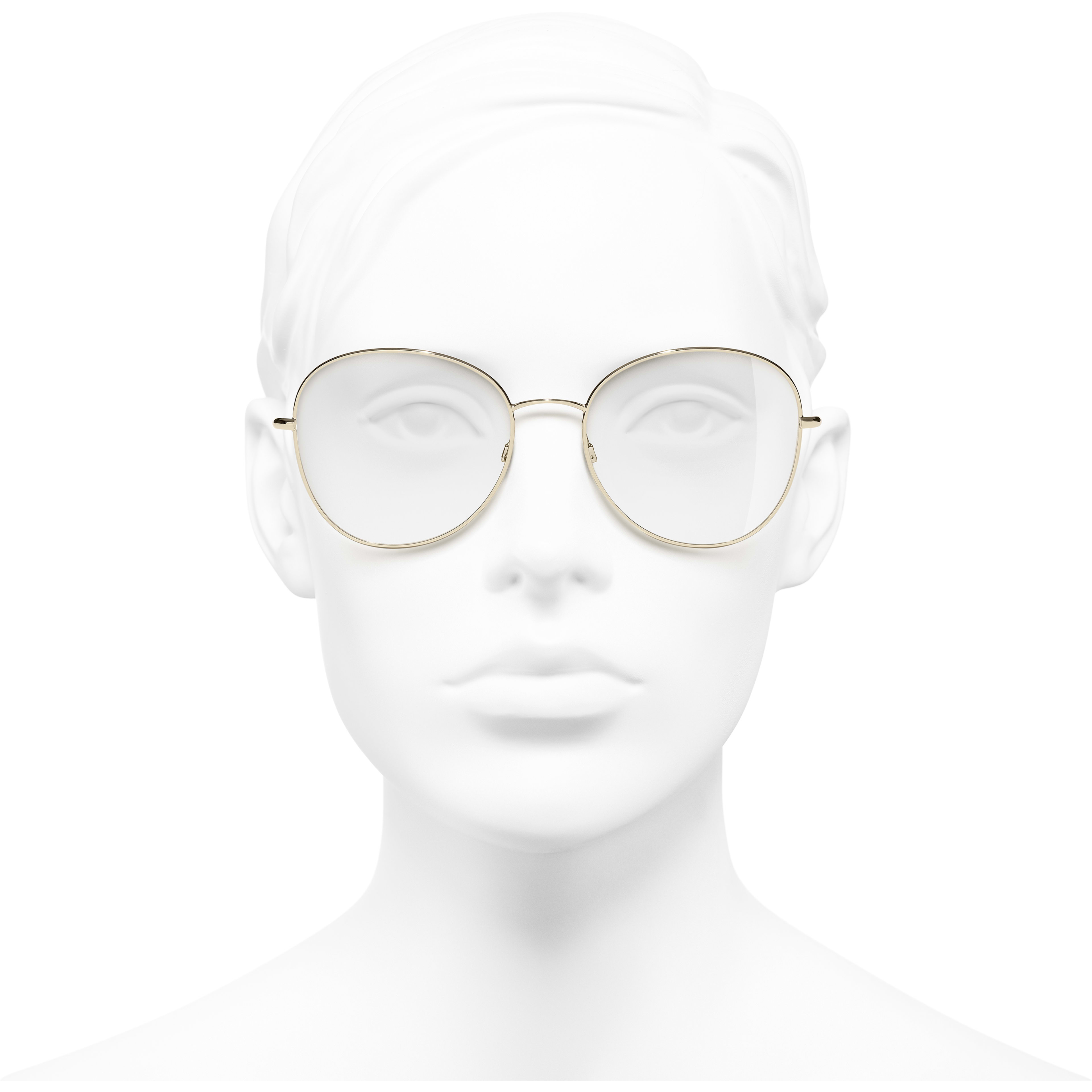 Round Eyeglasses - Gold - Metal - CHANEL - Worn front view - see standard sized version