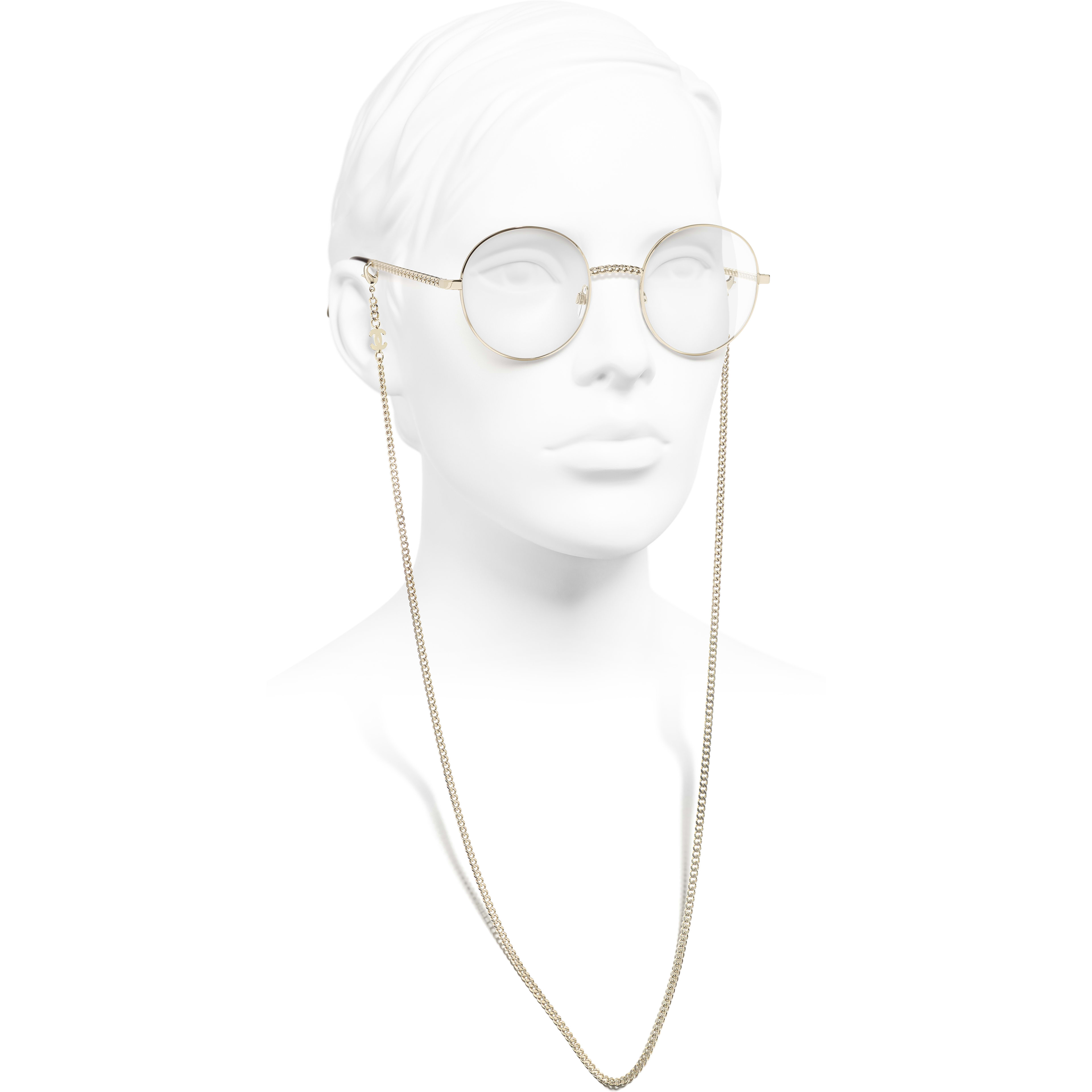 Round Eyeglasses - Gold - Metal - CHANEL - Worn side view - see standard sized version