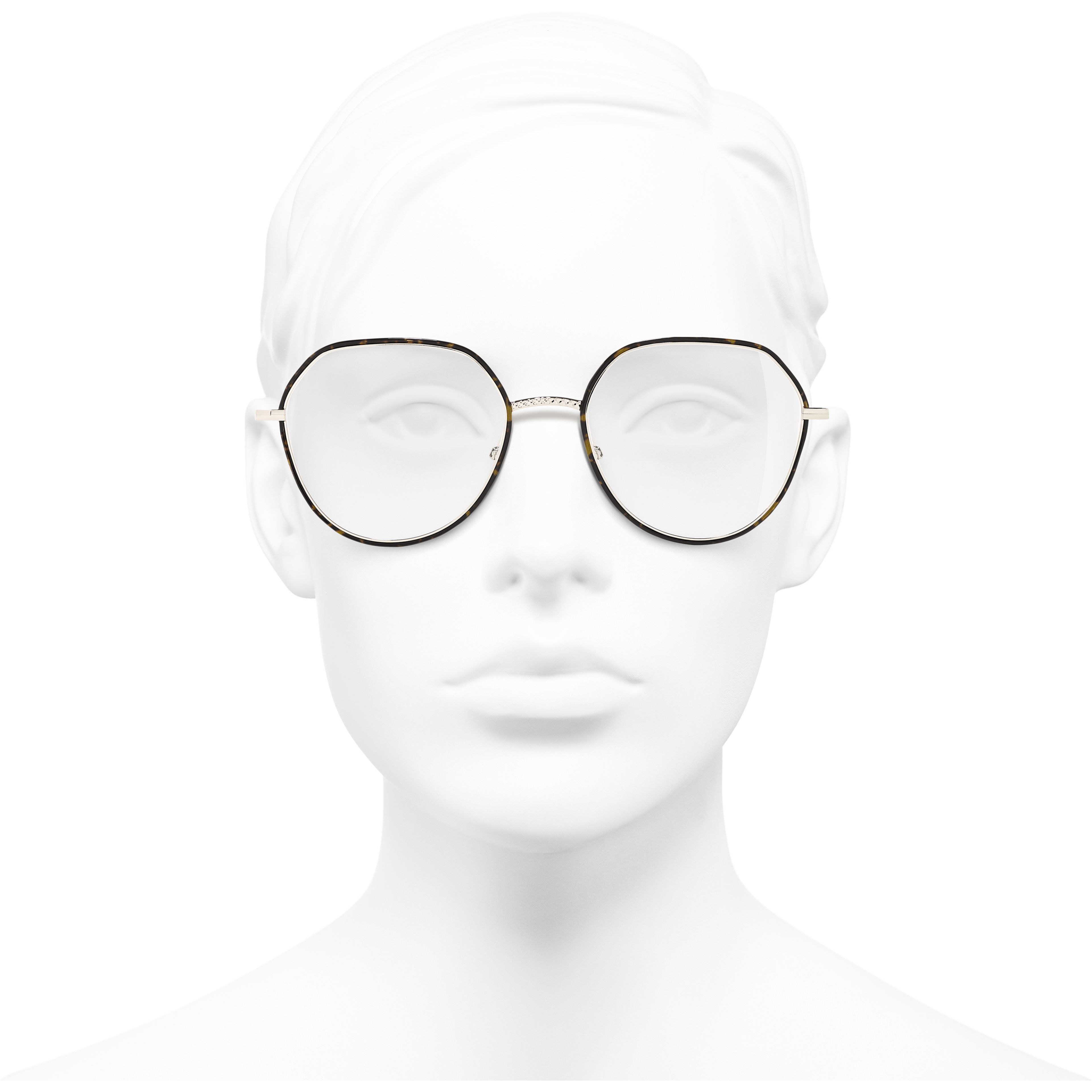 Round Eyeglasses - Gold & Tortoise - Metal - CHANEL - Worn front view - see standard sized version