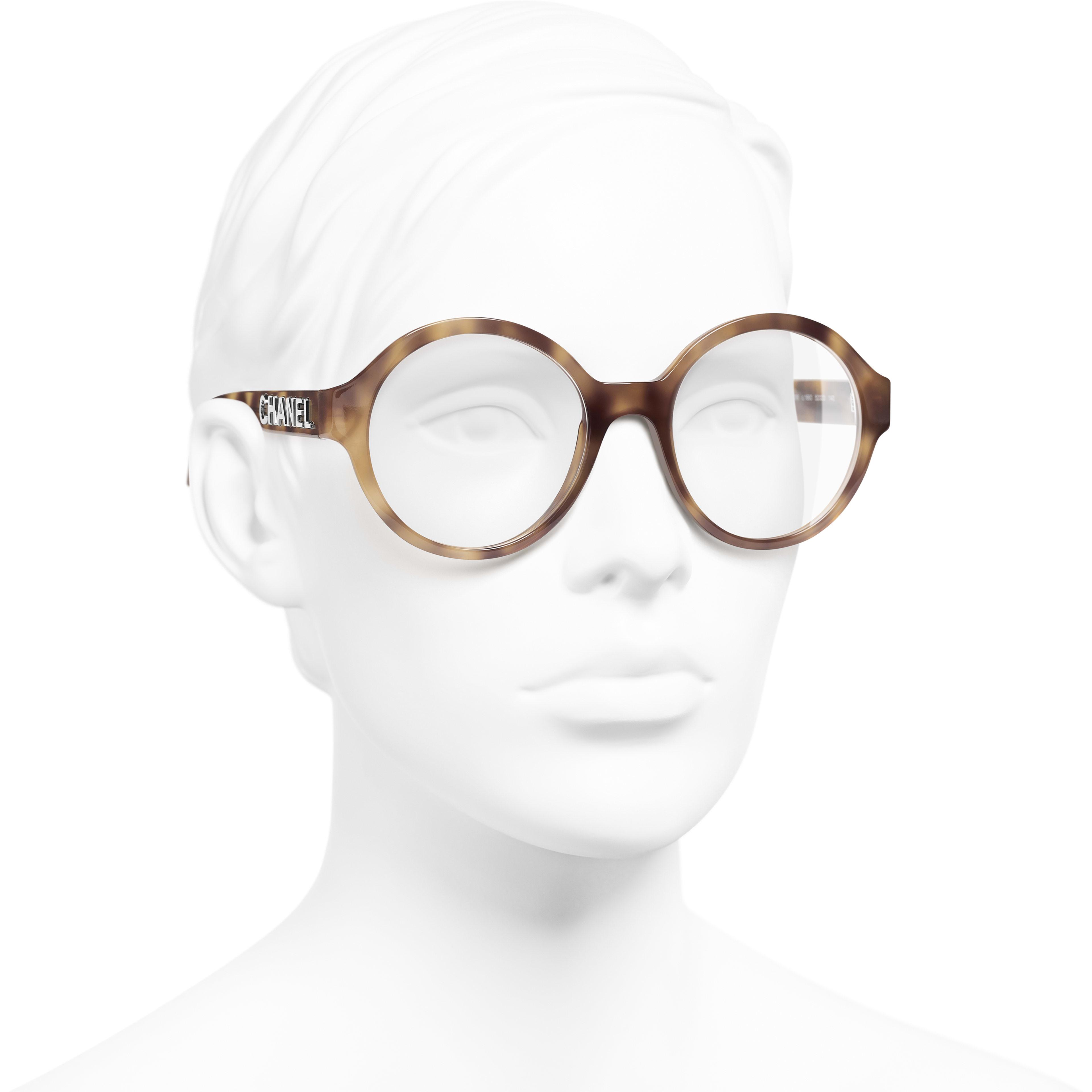 แว่นสายตาทรงกลม - สีกระอ่อน - อะซิเตท - มุมมองการสวมใส่ 3/4 - ดูเวอร์ชันขนาดมาตรฐาน