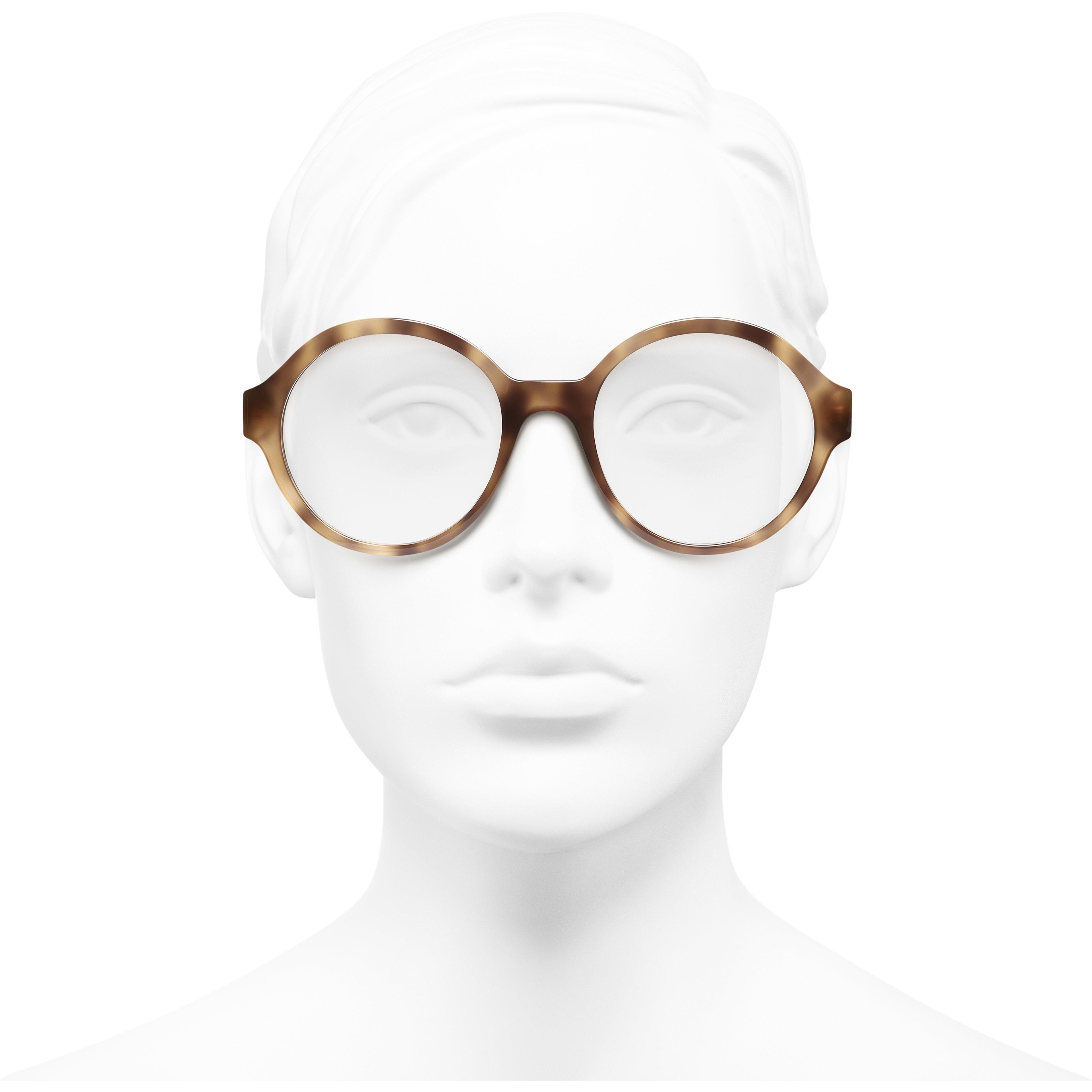 แว่นสายตาทรงกลม - สีกระอ่อน - อะซิเตท - มุมมองการสวมใส่ด้านหน้า - ดูเวอร์ชันขนาดมาตรฐาน