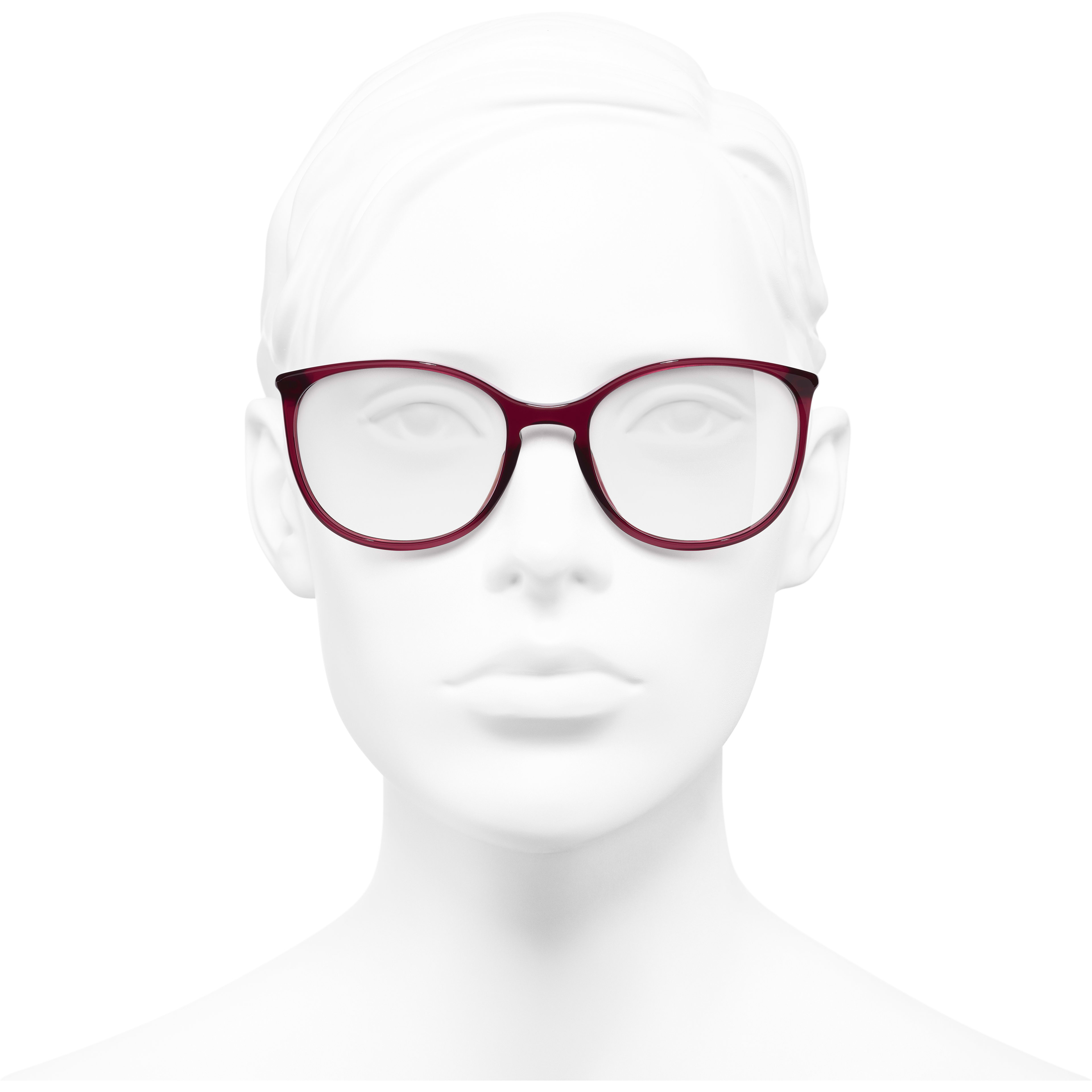 Round Eyeglasses - Red - Acetate - Worn front view - see standard sized version