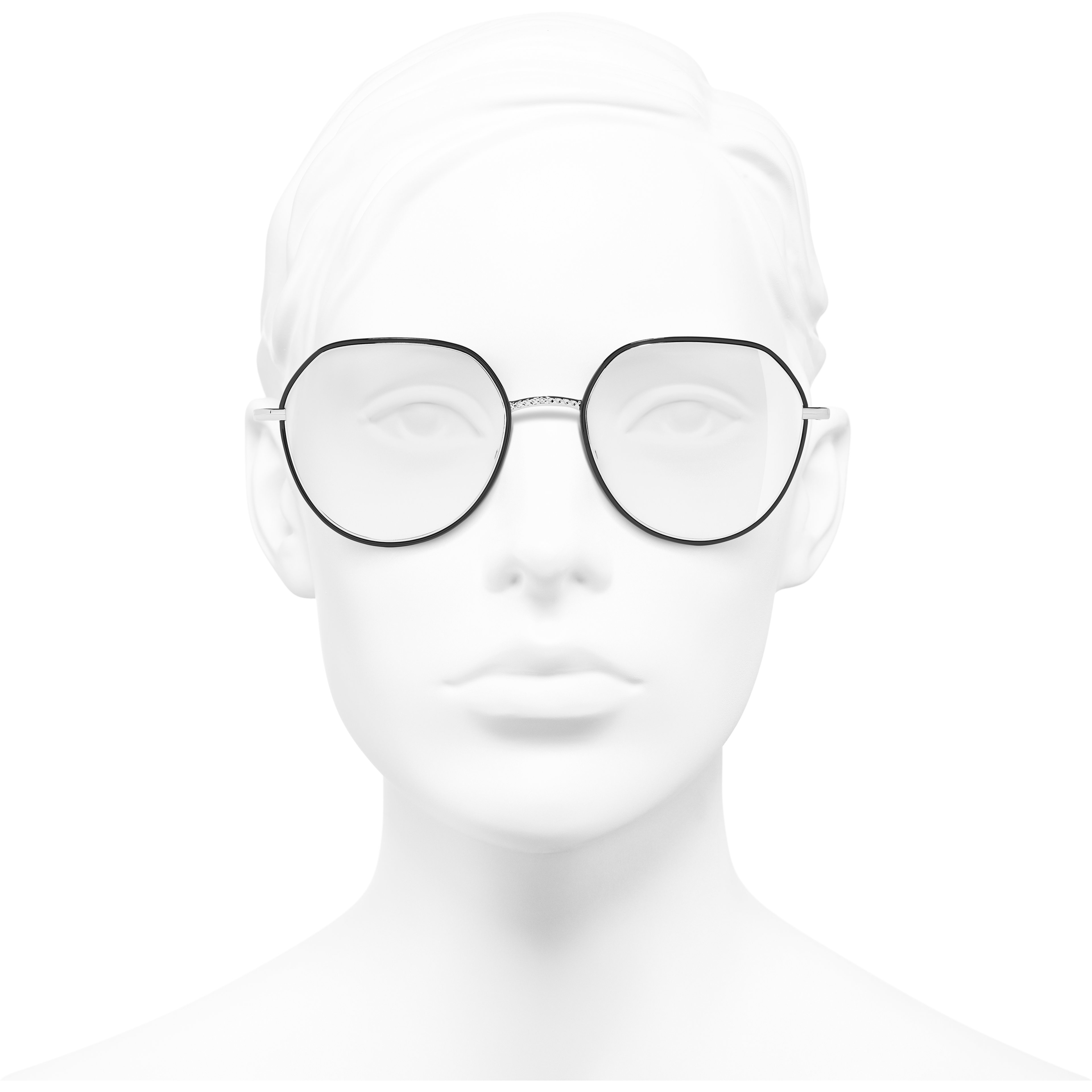 Round Eyeglasses - Silver & Black - Metal - CHANEL - Worn front view - see standard sized version