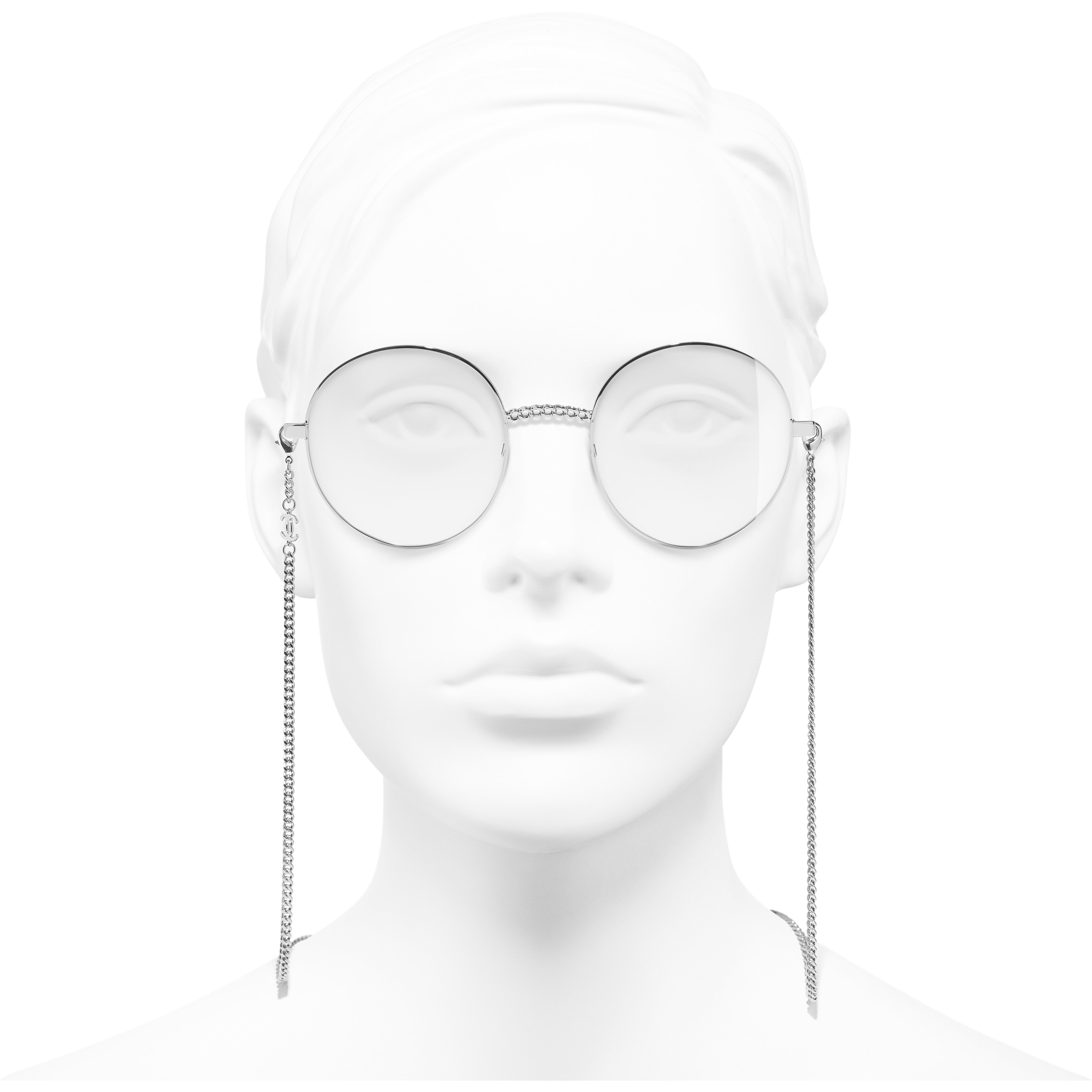 Round Eyeglasses - Silver - Metal - Worn front view - see standard sized version