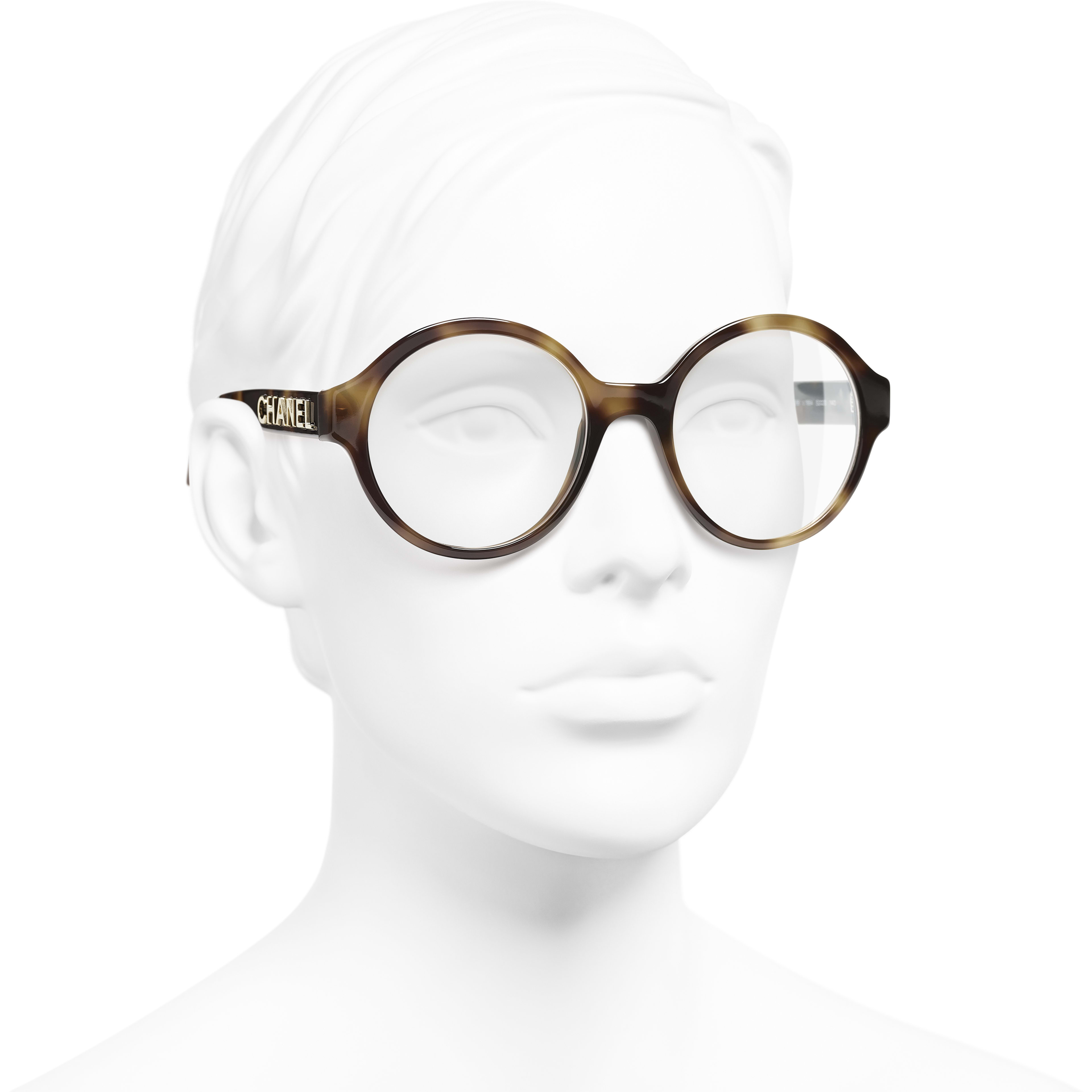 Round Eyeglasses - Tortoise - Acetate - CHANEL - Worn 3/4 view - see standard sized version