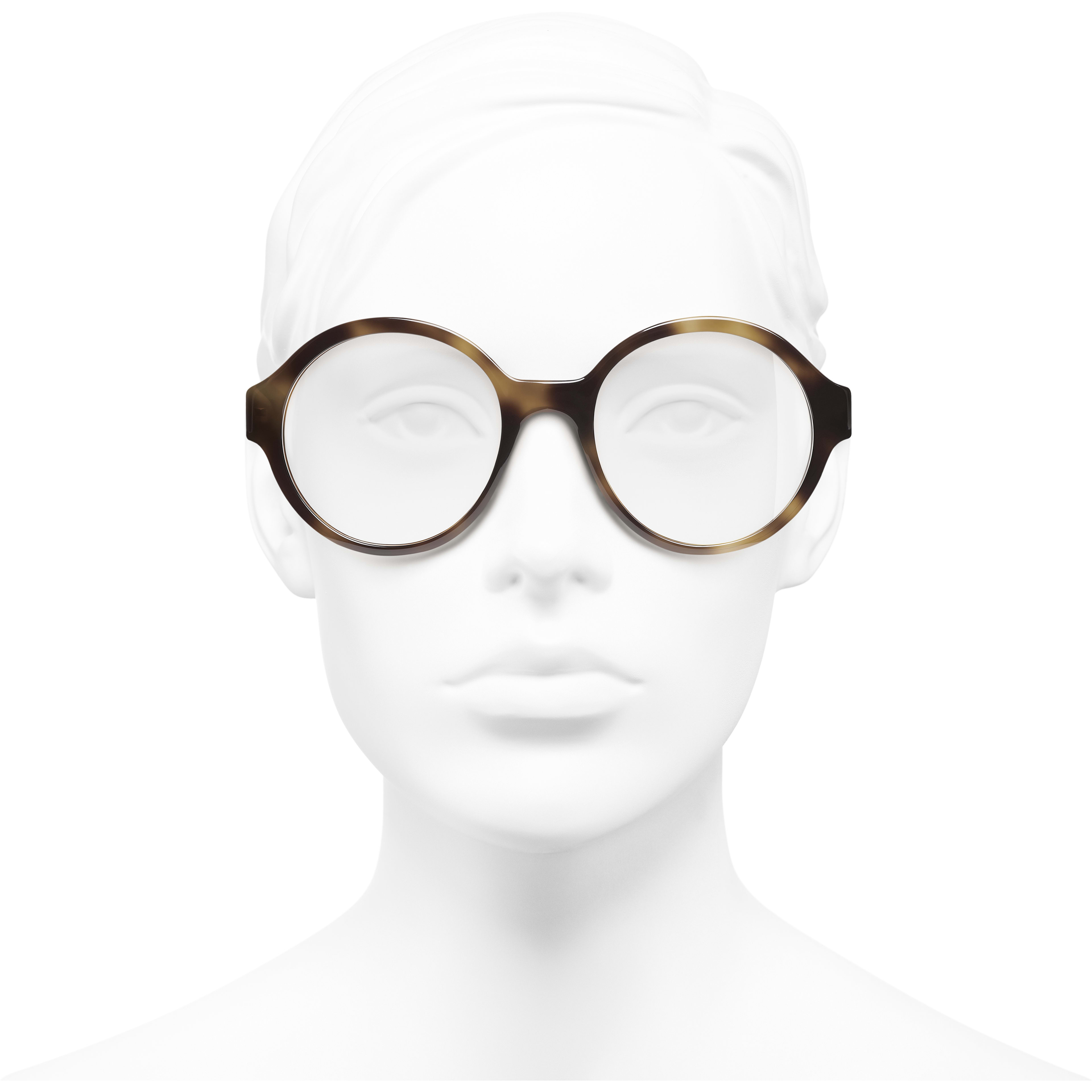 Round Eyeglasses - Tortoise - Acetate - CHANEL - Worn front view - see standard sized version