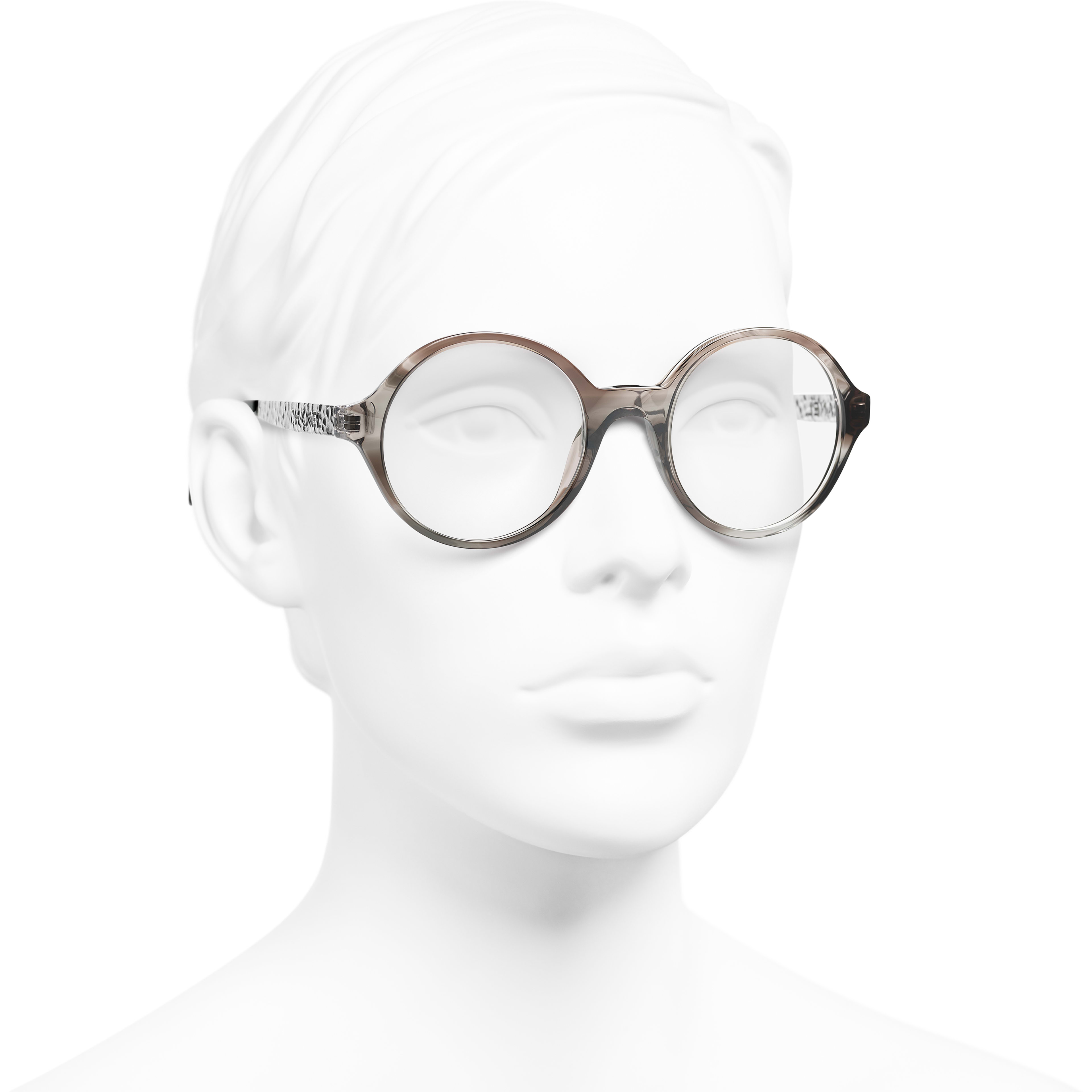 Round Eyeglasses - Transparent Grey - Acetate & Metal - CHANEL - Worn 3/4 view - see standard sized version