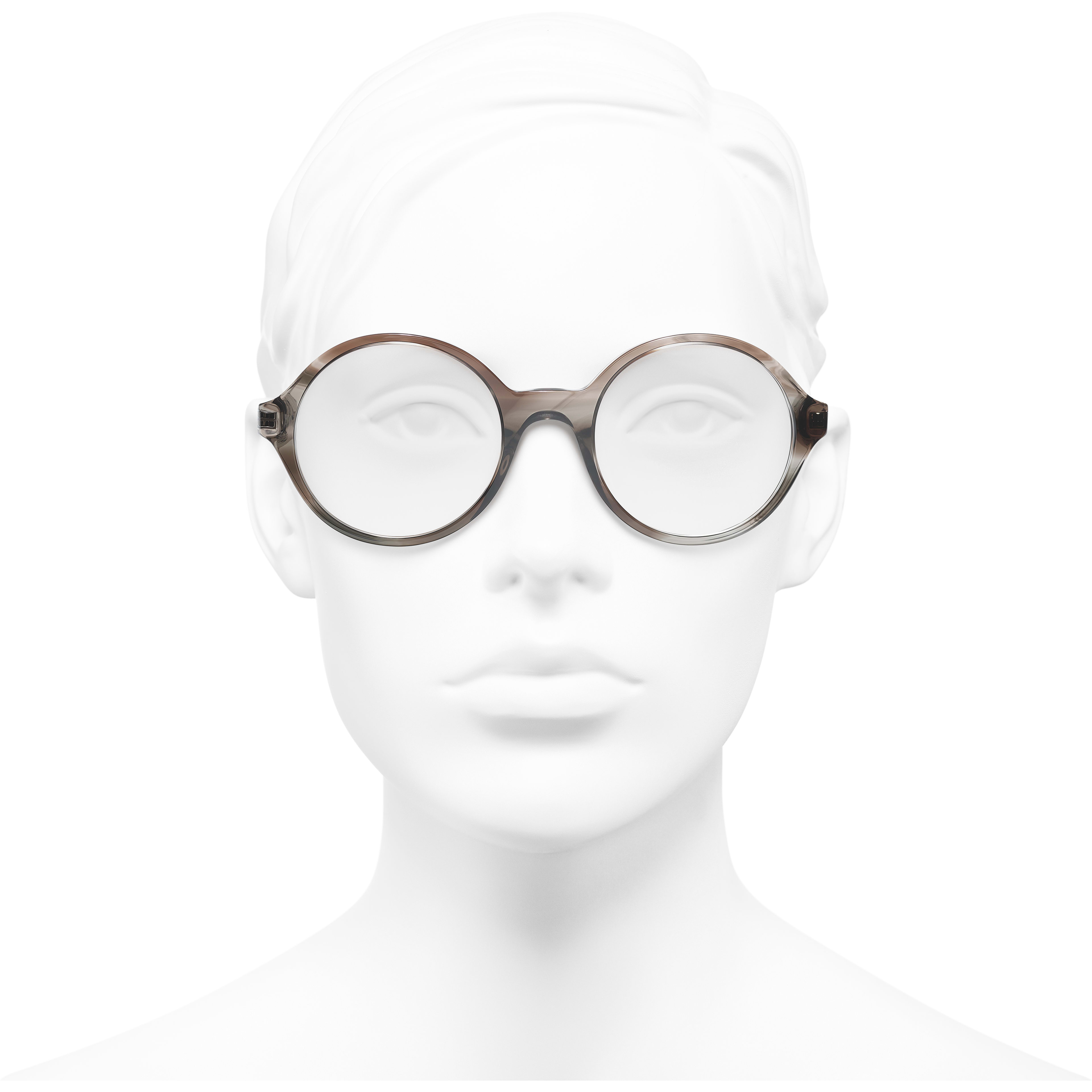 Round Eyeglasses - Transparent Grey - Acetate & Metal - CHANEL - Worn front view - see standard sized version