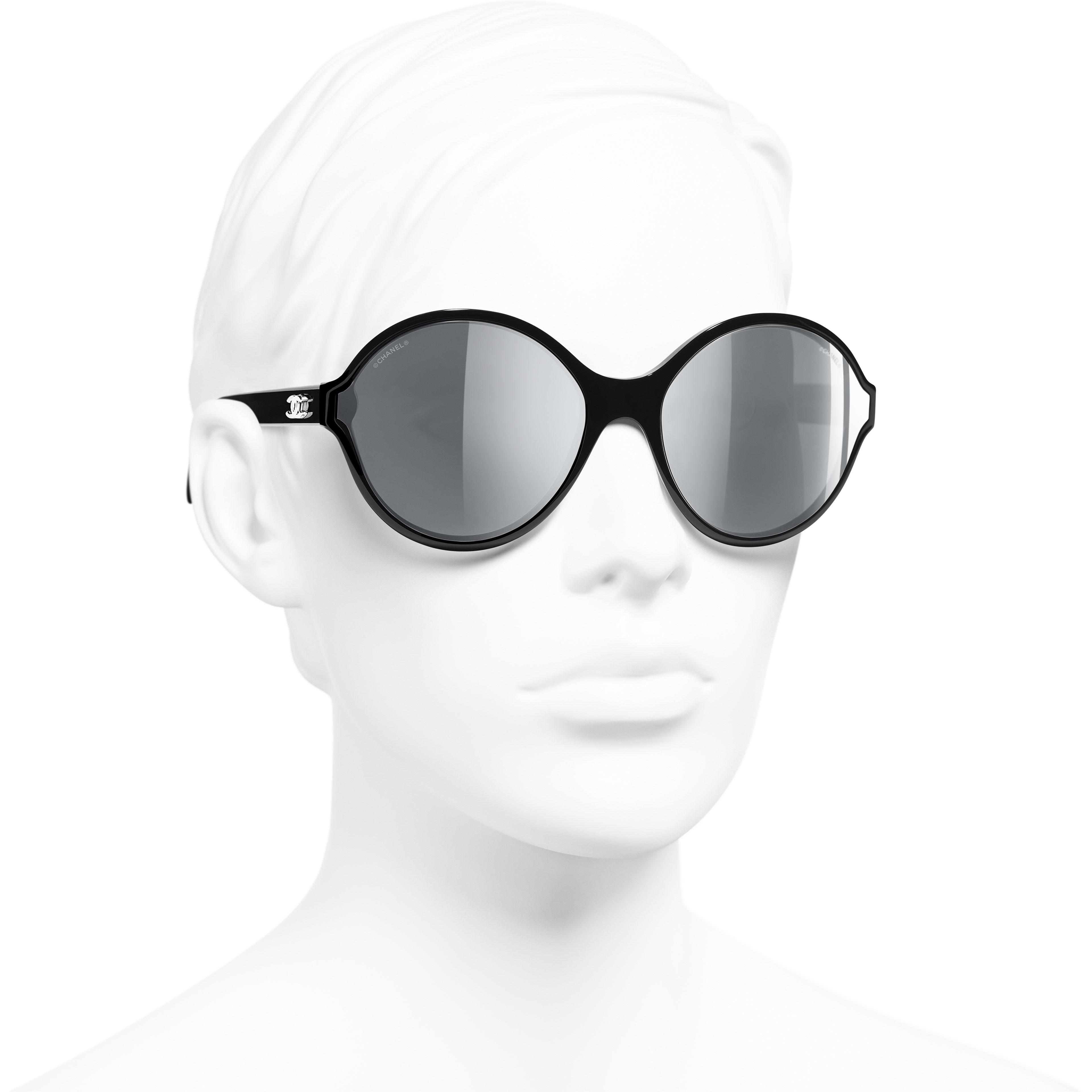 Round Sunglasses - Black - Acetate - Worn 3/4 view - see standard sized version