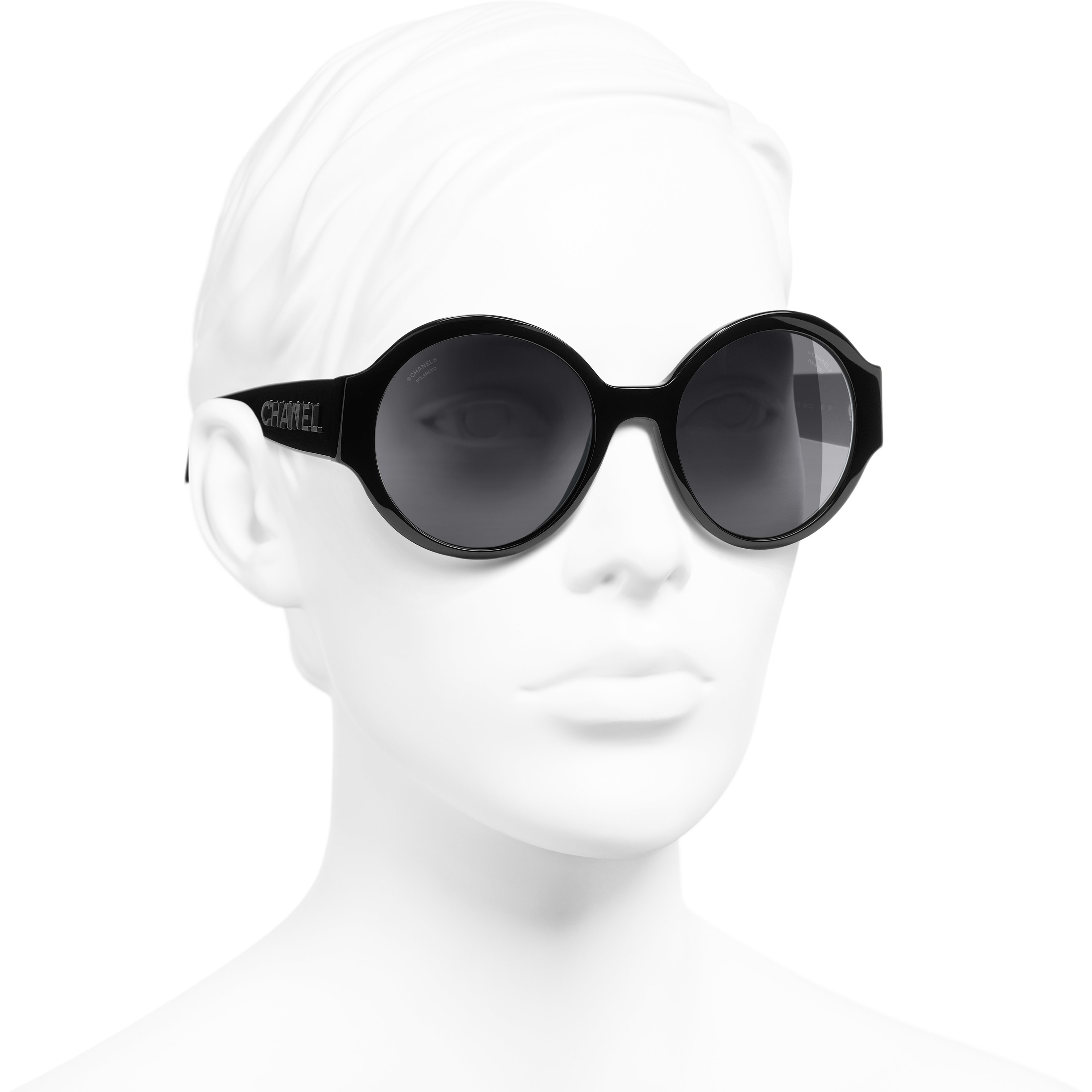 Round Sunglasses - Black - Acetate - CHANEL - Worn 3/4 view - see standard sized version