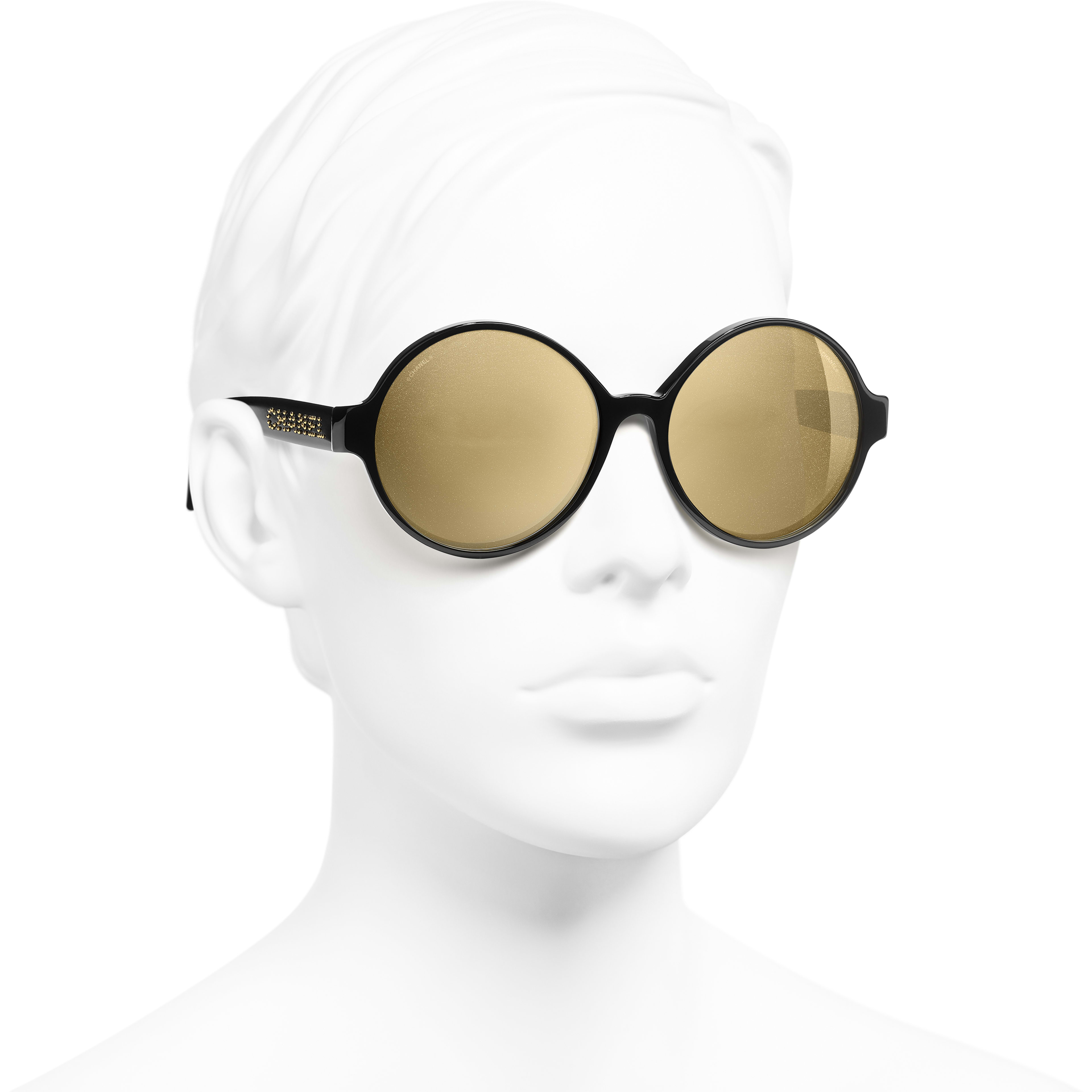 Round Sunglasses - Black - Acetate - Worn 3/4 view - see standard sized version