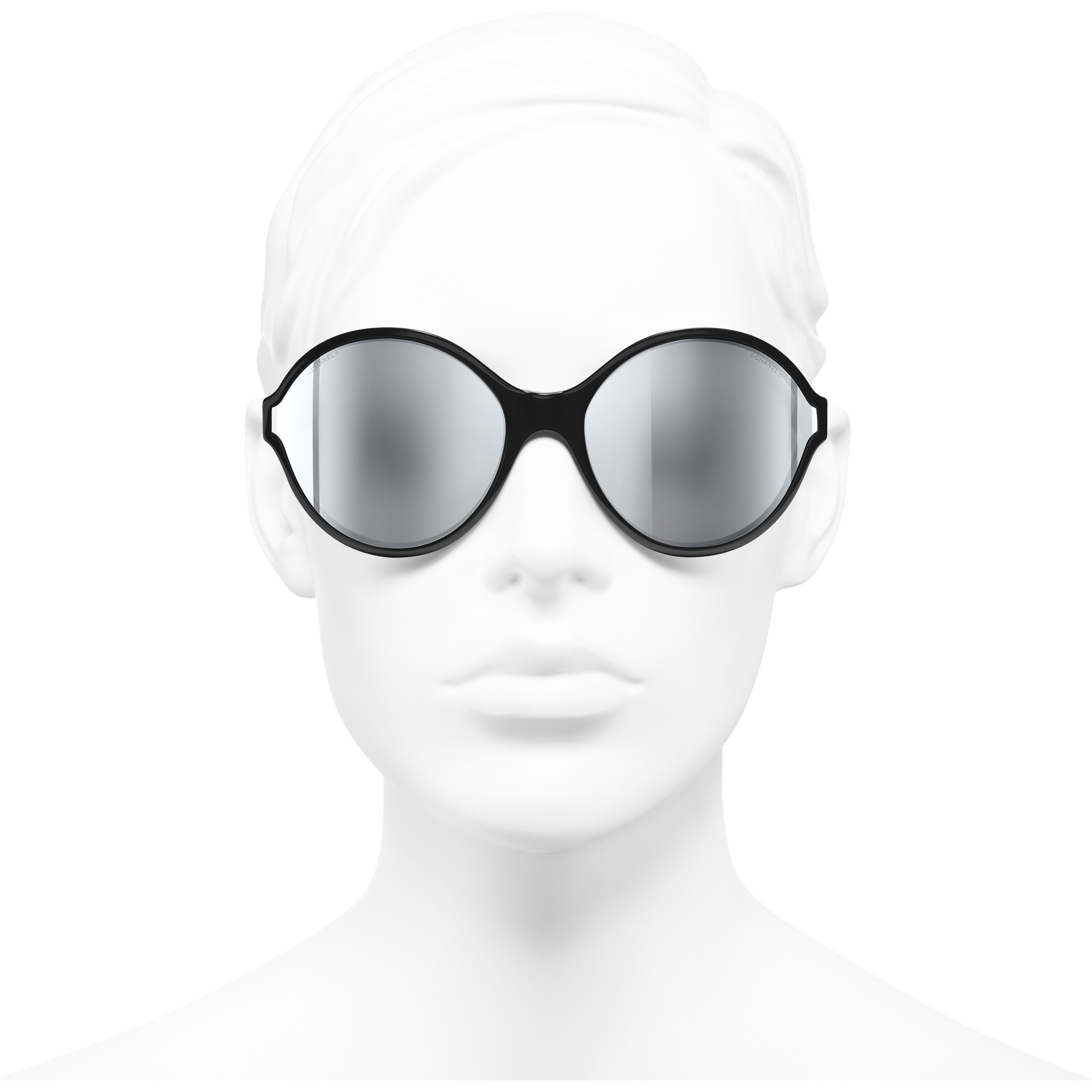 Round Sunglasses - Black - Acetate - Worn front view - see standard sized version
