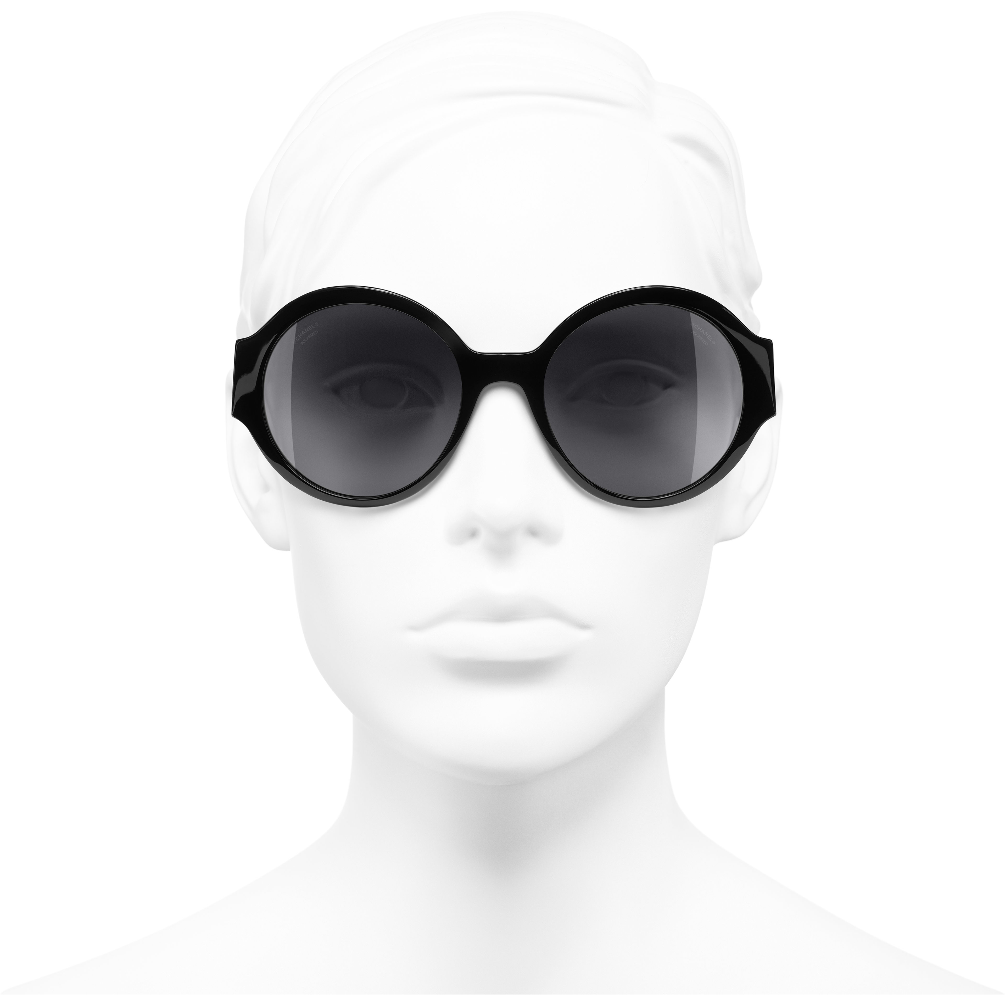 Round Sunglasses - Black - Acetate - CHANEL - Worn front view - see standard sized version
