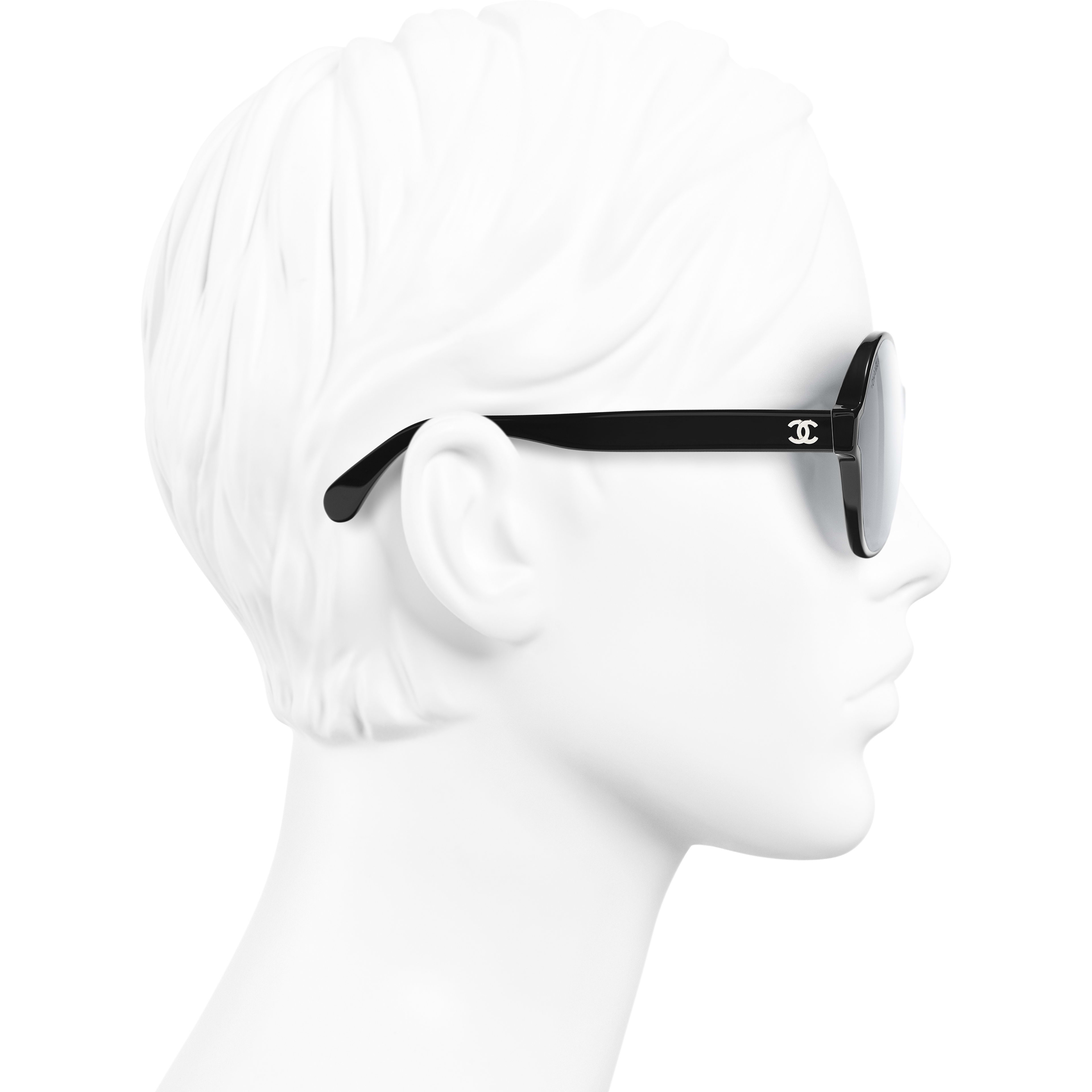 Round Sunglasses - Black - Acetate - Worn side view - see standard sized version