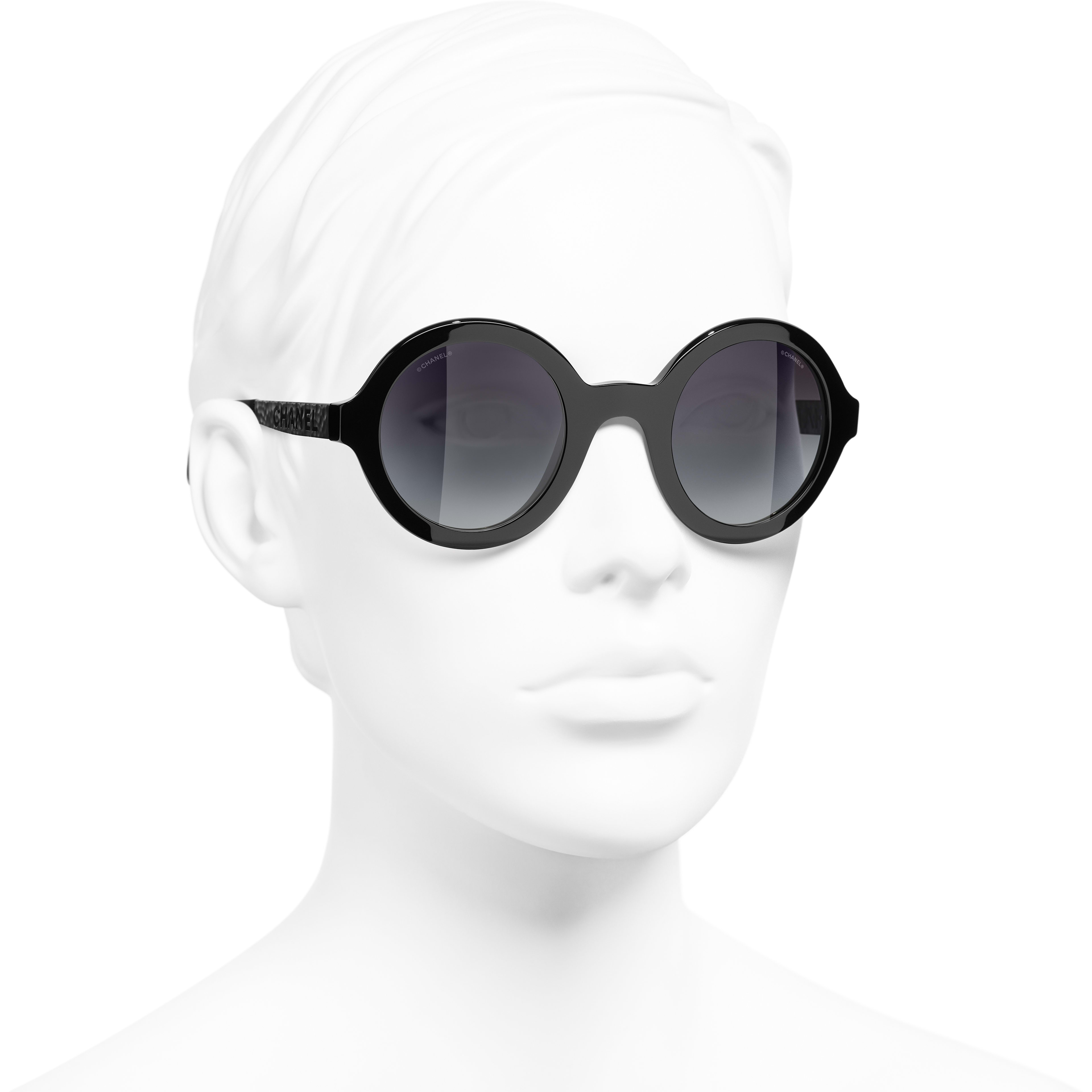 Round Sunglasses - Black - Acetate & Metal - CHANEL - Worn 3/4 view - see standard sized version