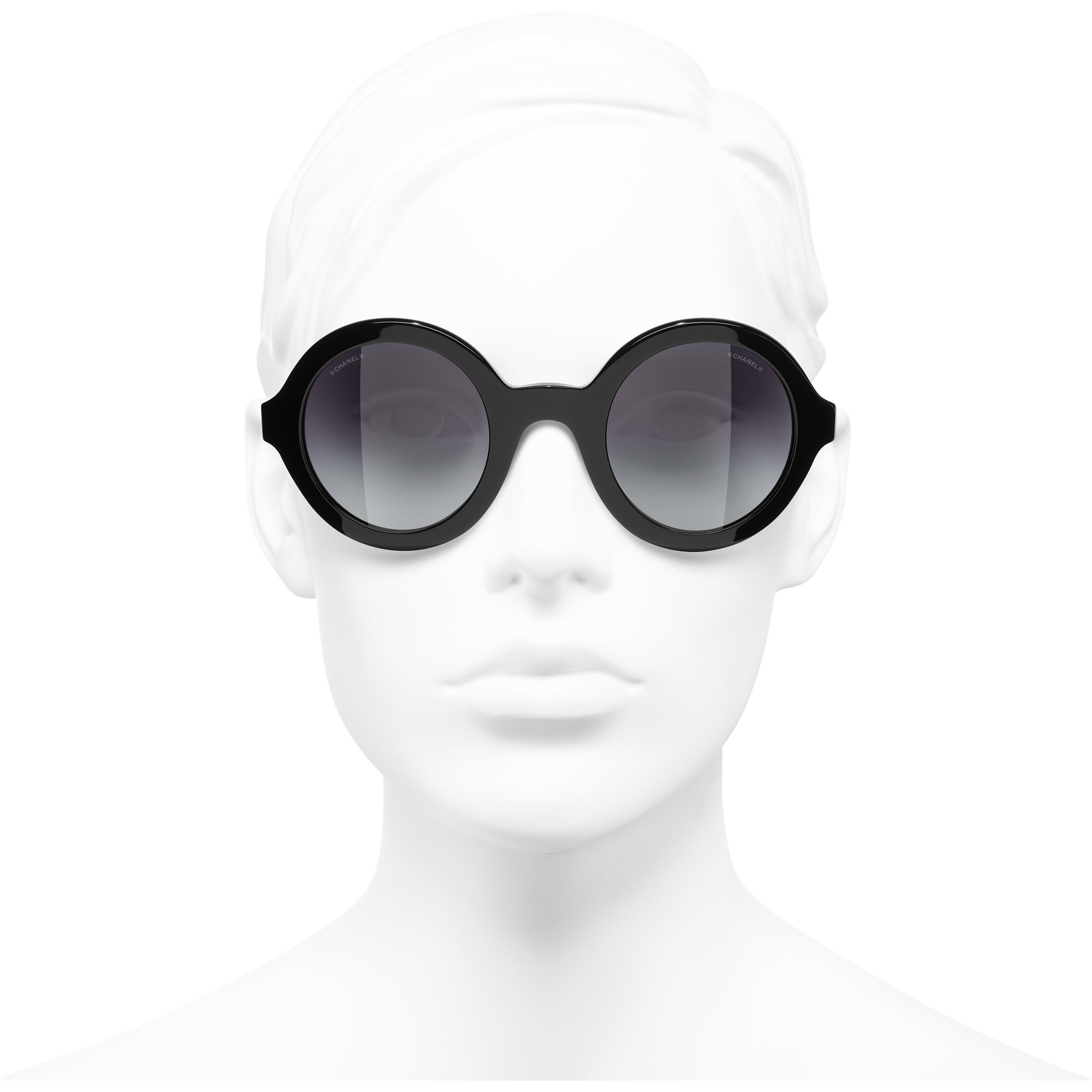 Round Sunglasses - Black - Acetate & Metal - CHANEL - Worn front view - see standard sized version