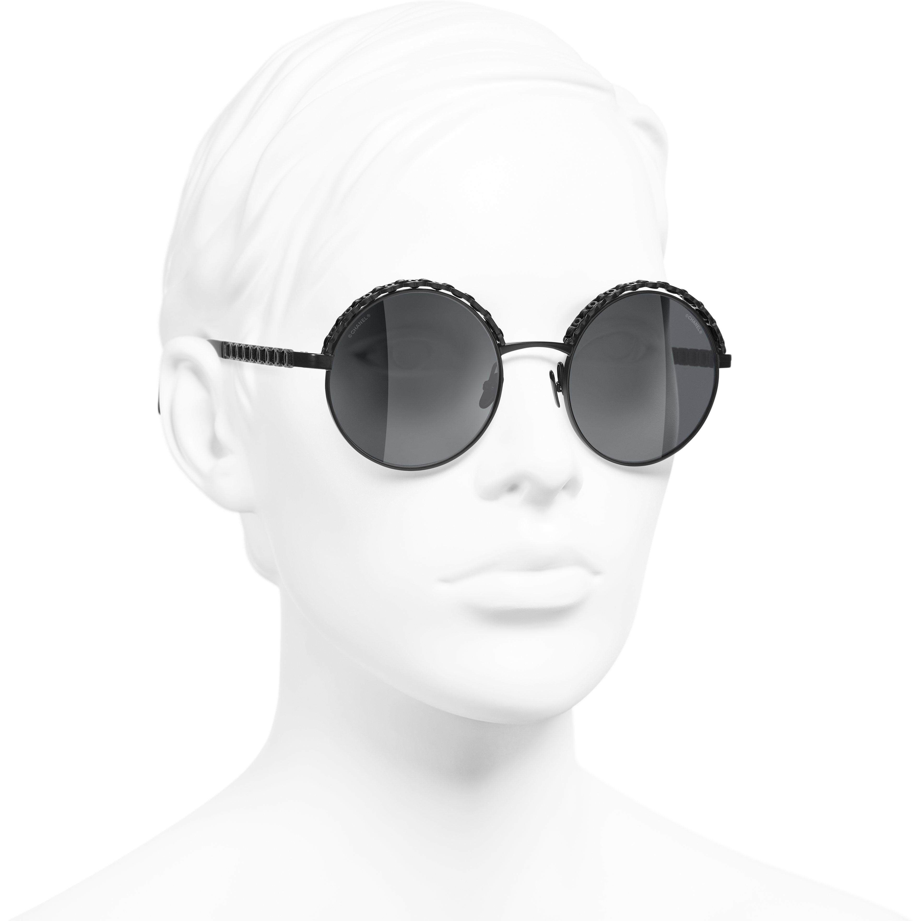Round Sunglasses - Black - Metal & Calfskin - CHANEL - Worn 3/4 view - see standard sized version