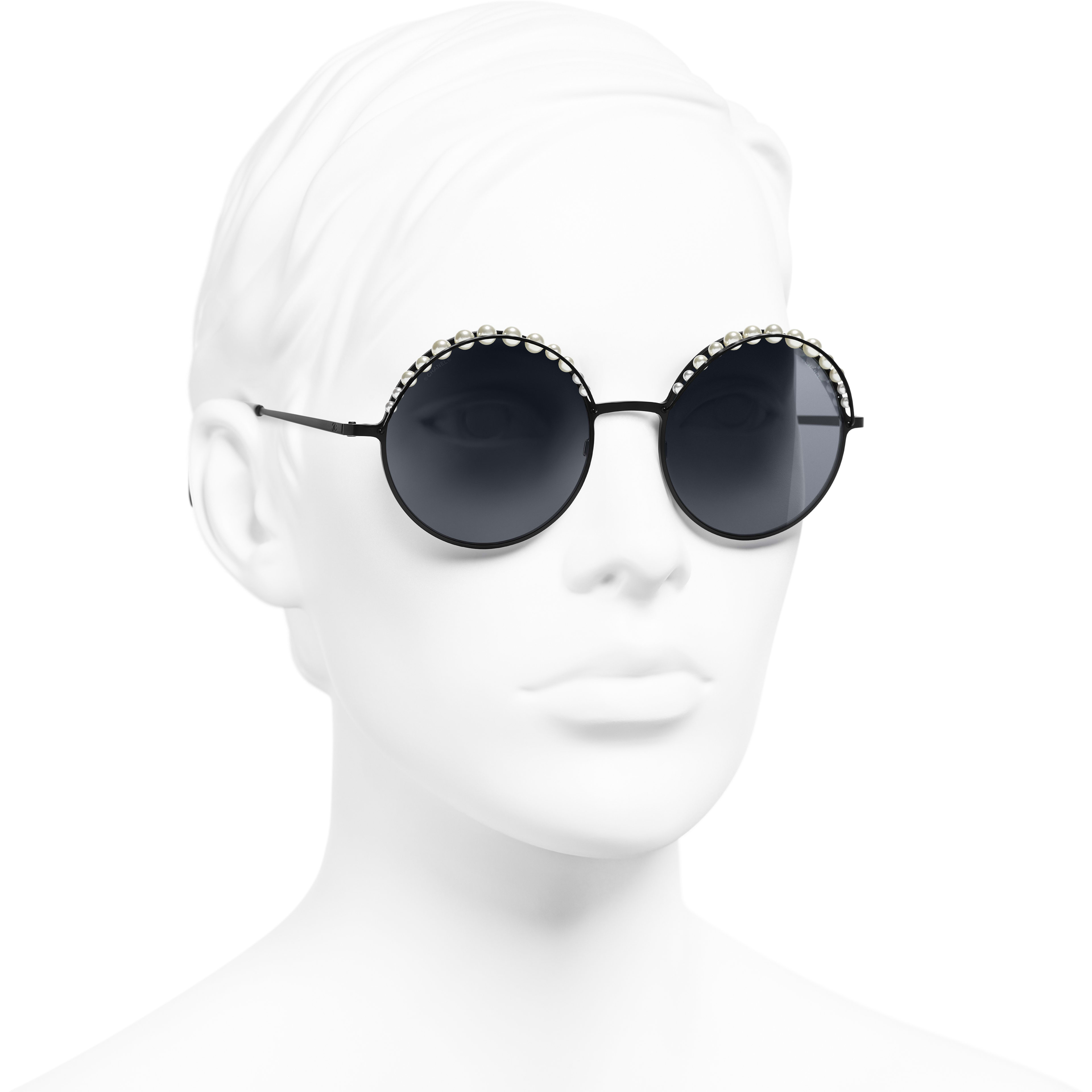 Round Sunglasses - Black - Metal & Imitation Pearls - Worn 3/4 view - see standard sized version